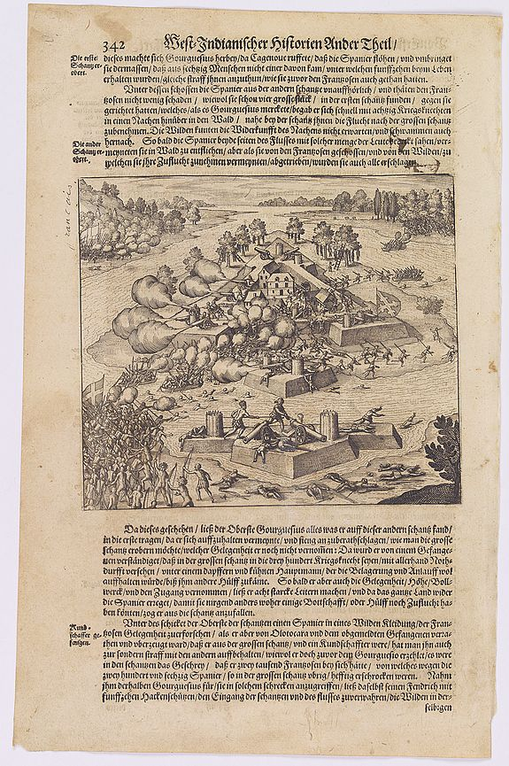 GOTTFRIED, J.L. / DE BRY.,  [The retaking of Fort Caroline by the French / Indians from the Spanish.], antique map, old maps