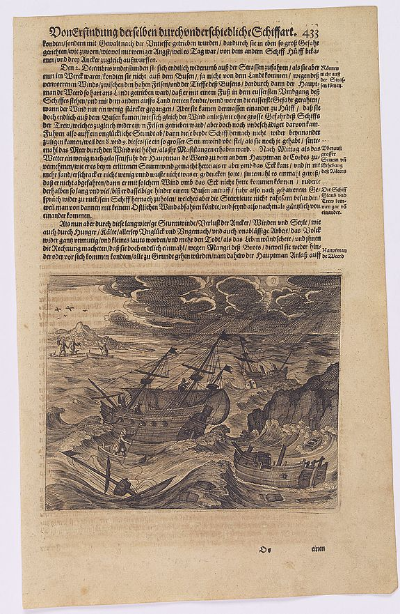 GOTTFRIED, J.L. / DE BRY.,  [John Smith caught by the French.], antique map, old maps