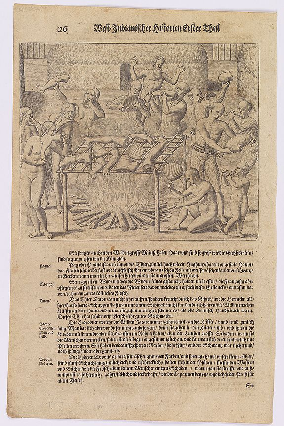 GOTTFRIED, J.L. / DE BRY.,  [How the Tupi Indians roasted their meat.], antique map, old maps
