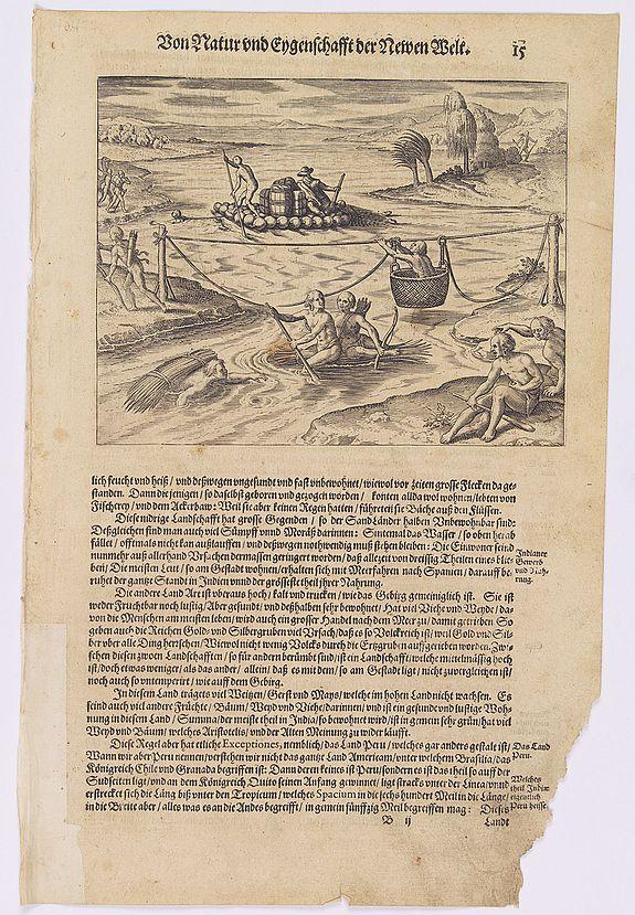 GOTTFRIED, J.L. / DE BRY. -  [How the Indians cross the river.]