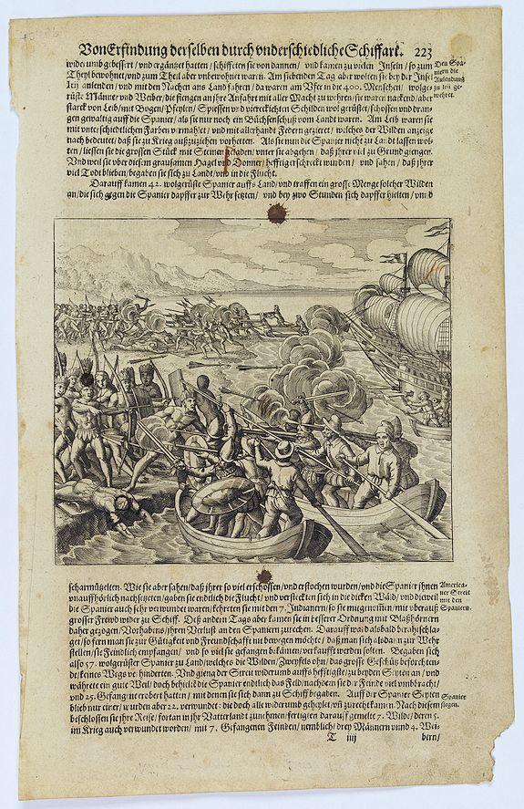 GOTTFRIED, J.L. / DE BRY. -  [Vespucci lands on the Island of Itius.]
