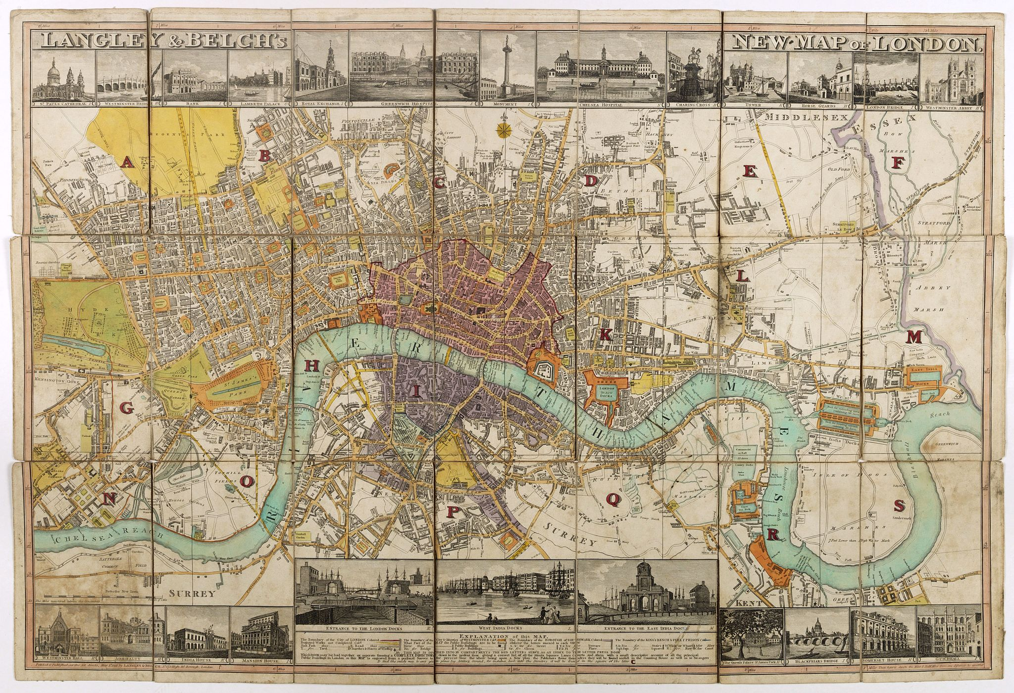 STEPHENS, D. -  Langley & Belch's New Map of London.