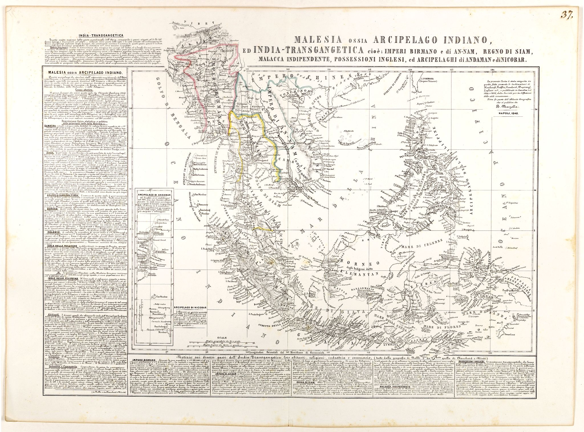 MARZOLLA, B. -  Malesia ossia Arcipelago Indiano, ed India-Transgangetica.