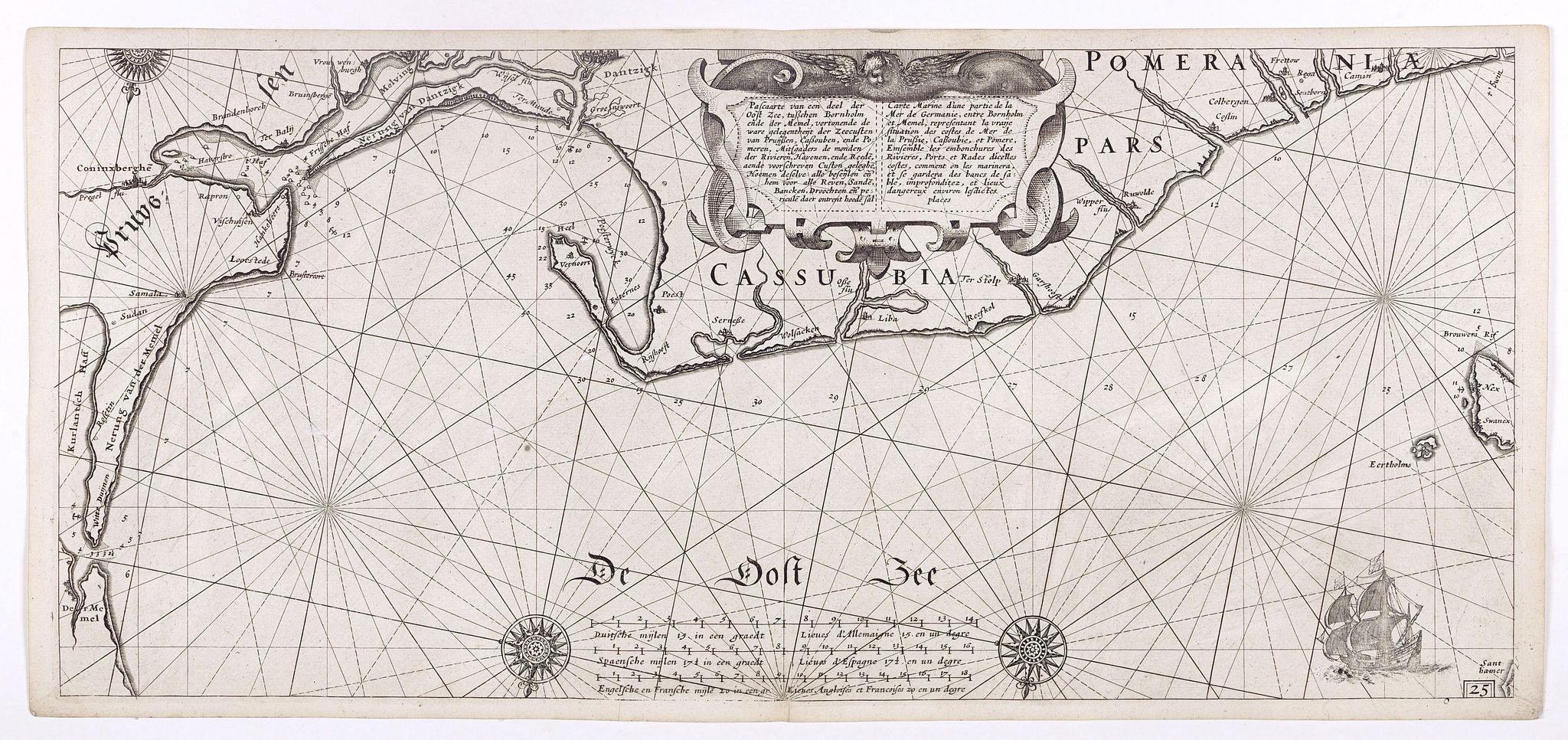 BLAEU, W. -  Pascaarte van een deel der Oost Zee, tusschen Bornholm ende der Memel, vertonende de ware gelegentheijt der Zeecusten van Pruijssen. . .