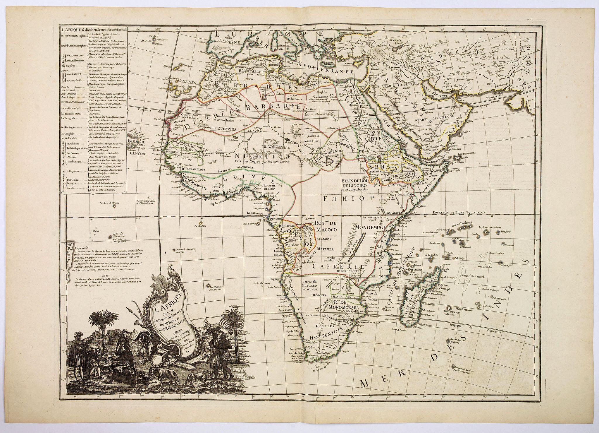 LE ROUGE, G.L. - L'Afrique Suivant les Dern.res Observations de Mr. Hass et des R.R.P.P. Jesuites.
