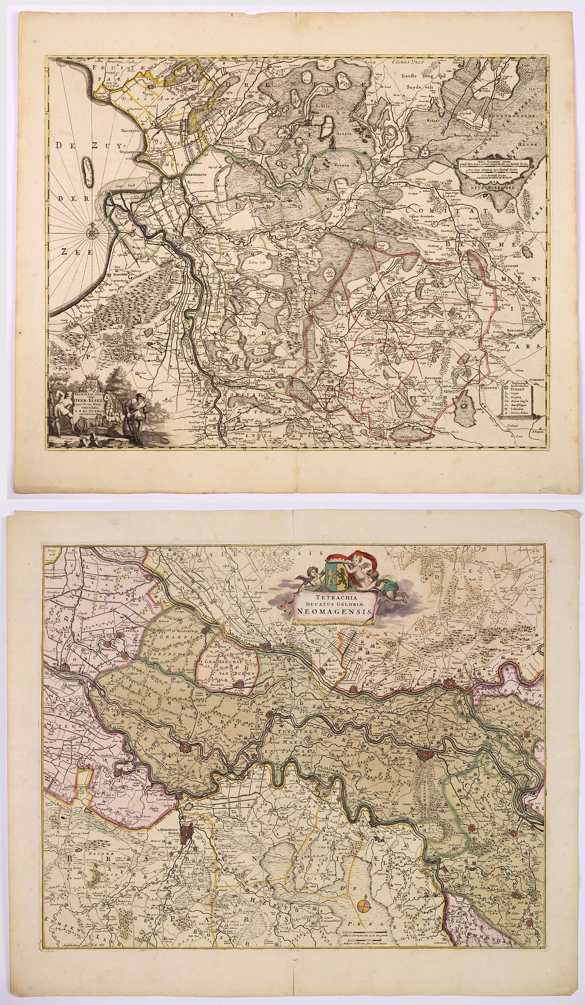 DE WIT, F. / OTTENS, R. / J., Tetrachia Ducatus Geldriae Neomagensis. / Transisalania vulgo Over-Yssel auct. N. ten Have. . . [Two maps], antique map, old maps