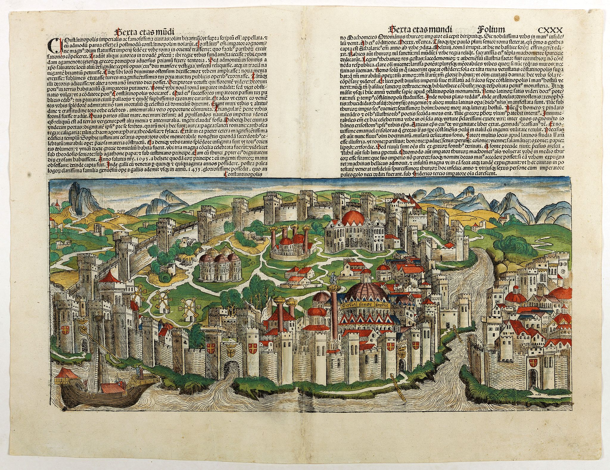SCHEDEL, H. -  Terta etas Mundi CXXX with double-page view of Constantinople. . .