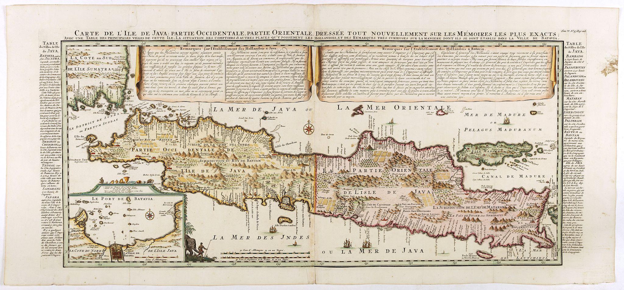 CHATELAIN, H. -  Carte de l'Ile de Java: partie Occidentale, partie Orientale, Dressée tout nouvellement sur les Mémoirs les plus exacts, Avec une Table des principales villes de cette Ile. . .