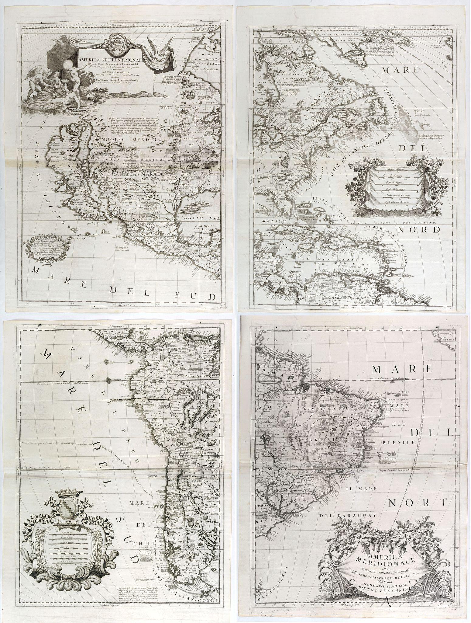 CORONELLI, V.M. - America Settentrionale Colle Nuove Scoperte Sin All Anno 1688. . . (together with] America meridionale . . .