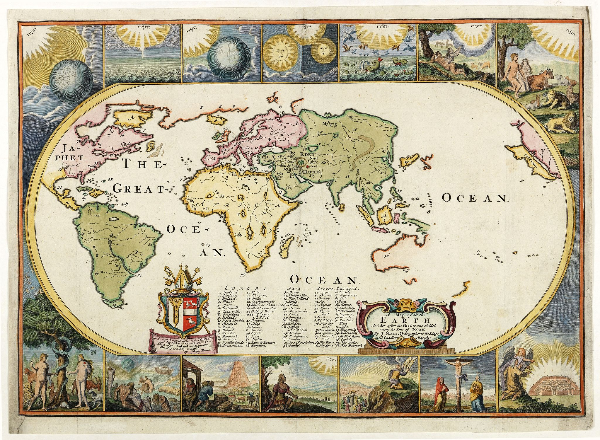 MOXON, J. -  A Map of all the Earth and how after the Flood it was Divided among the Sons of Noah. . .