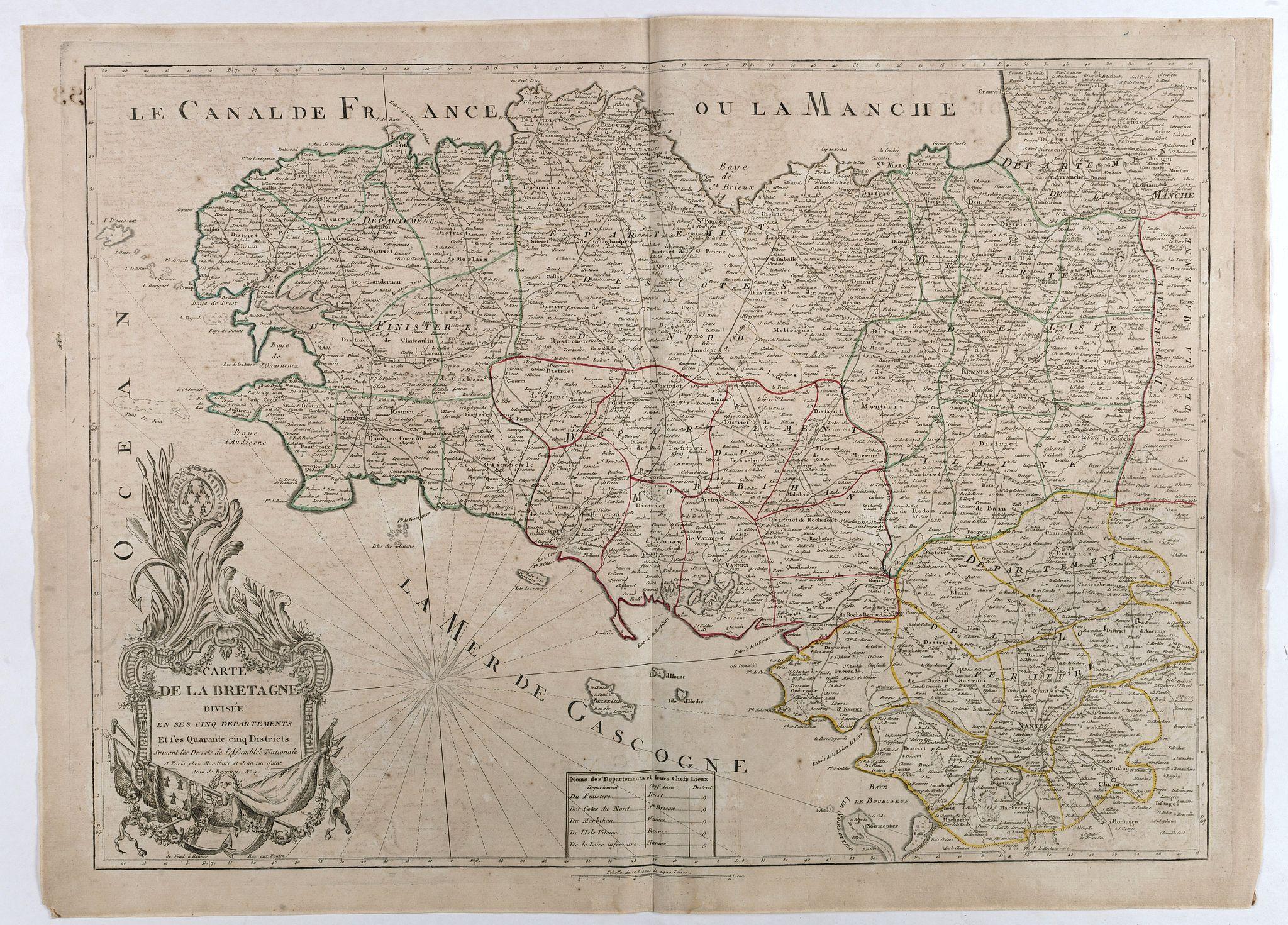 MONDHARE et JEAN. -  Carte de la Bretagne divisée en ses cinq departements et ses quarante cinq Districts . . .