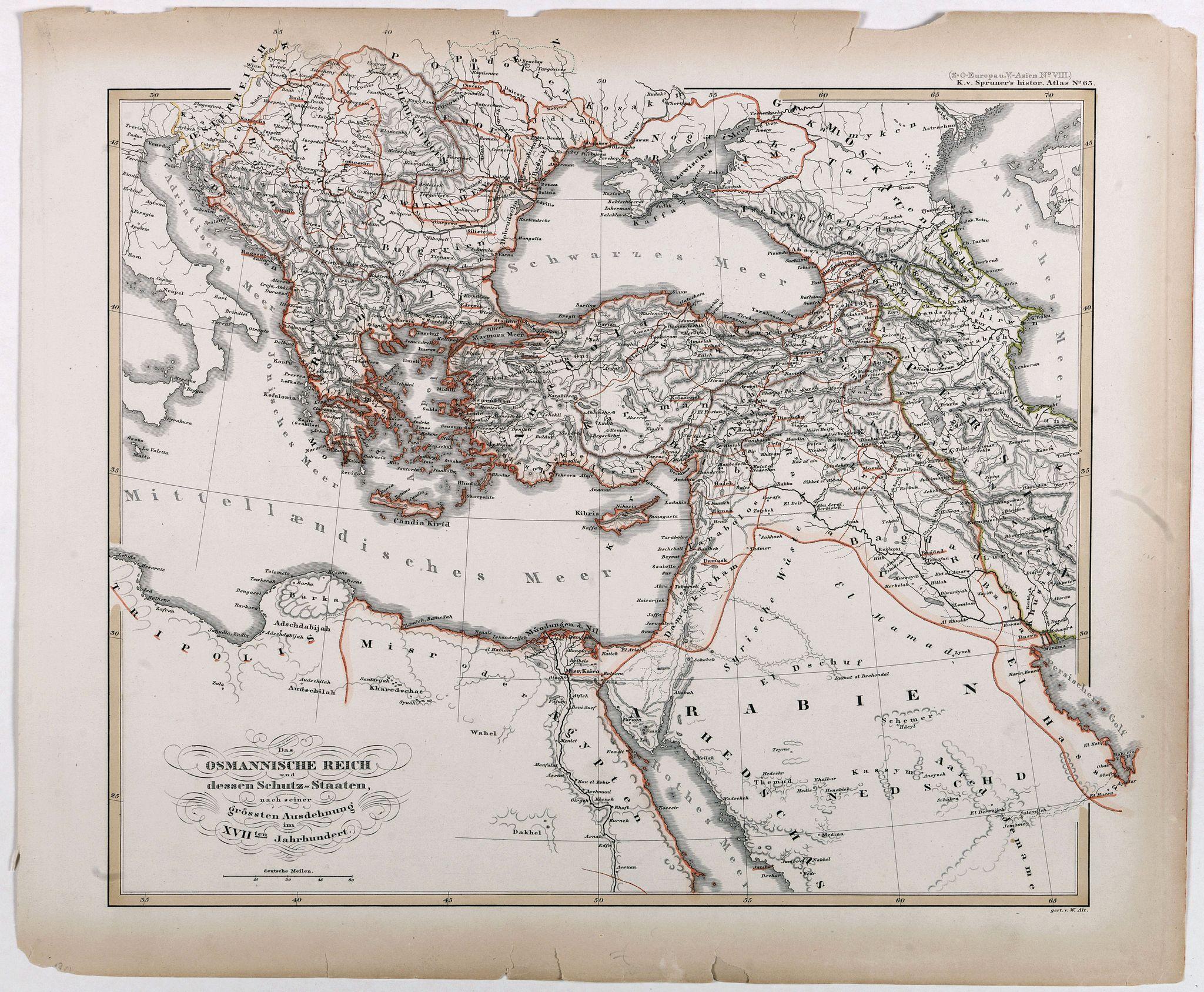 VON SPRUNER, K. -  Das osmannische Reich und dessen Schutz-Staaten, nach seiner grossten Ausdehnung im XVIIten Jahrhundert.