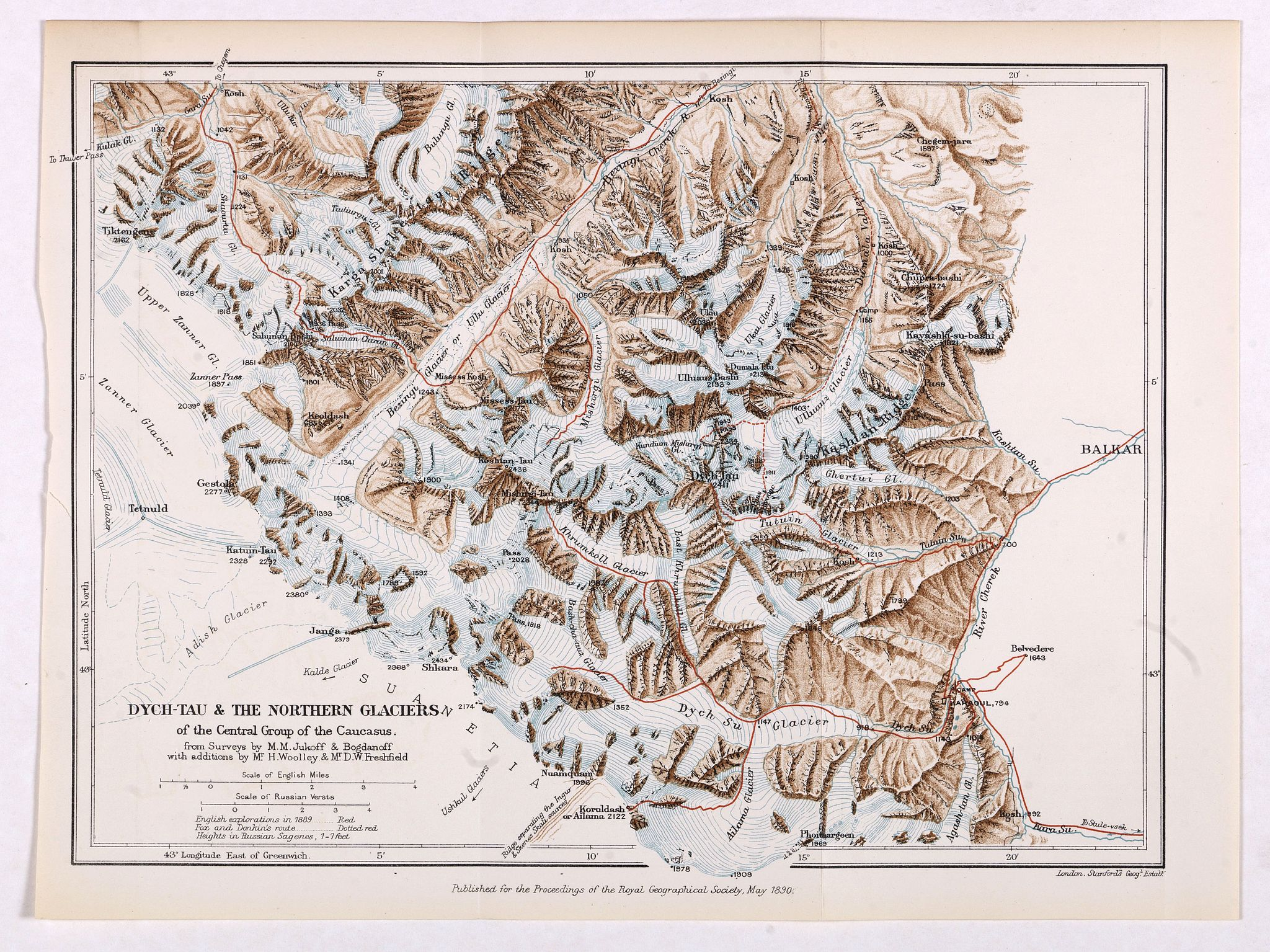 ROYAL GEOGRAPHICAL SOCIETY -  Dych-Tau & the Northern Glaciers of the Central Group of the Caucasus from surveys by M.M.Jukoff & Bogdanoff. . .