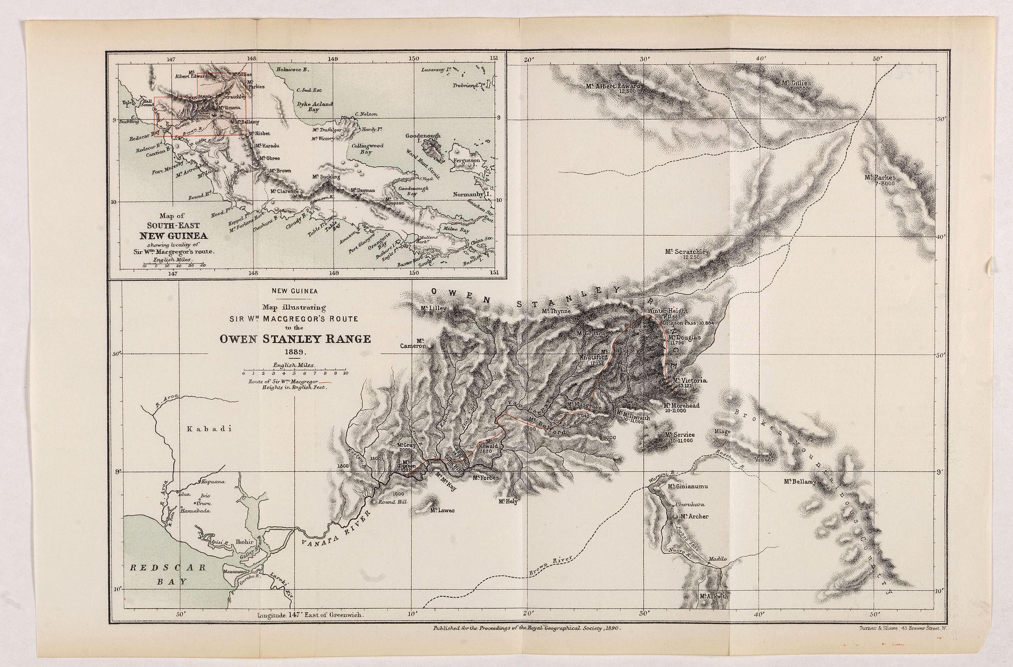 ROYAL GEOGRAPHICAL SOCIETY -  New Guinea. Map illustrating Sir. w. Macgregor's route to the Owen Stanley Range 1889.