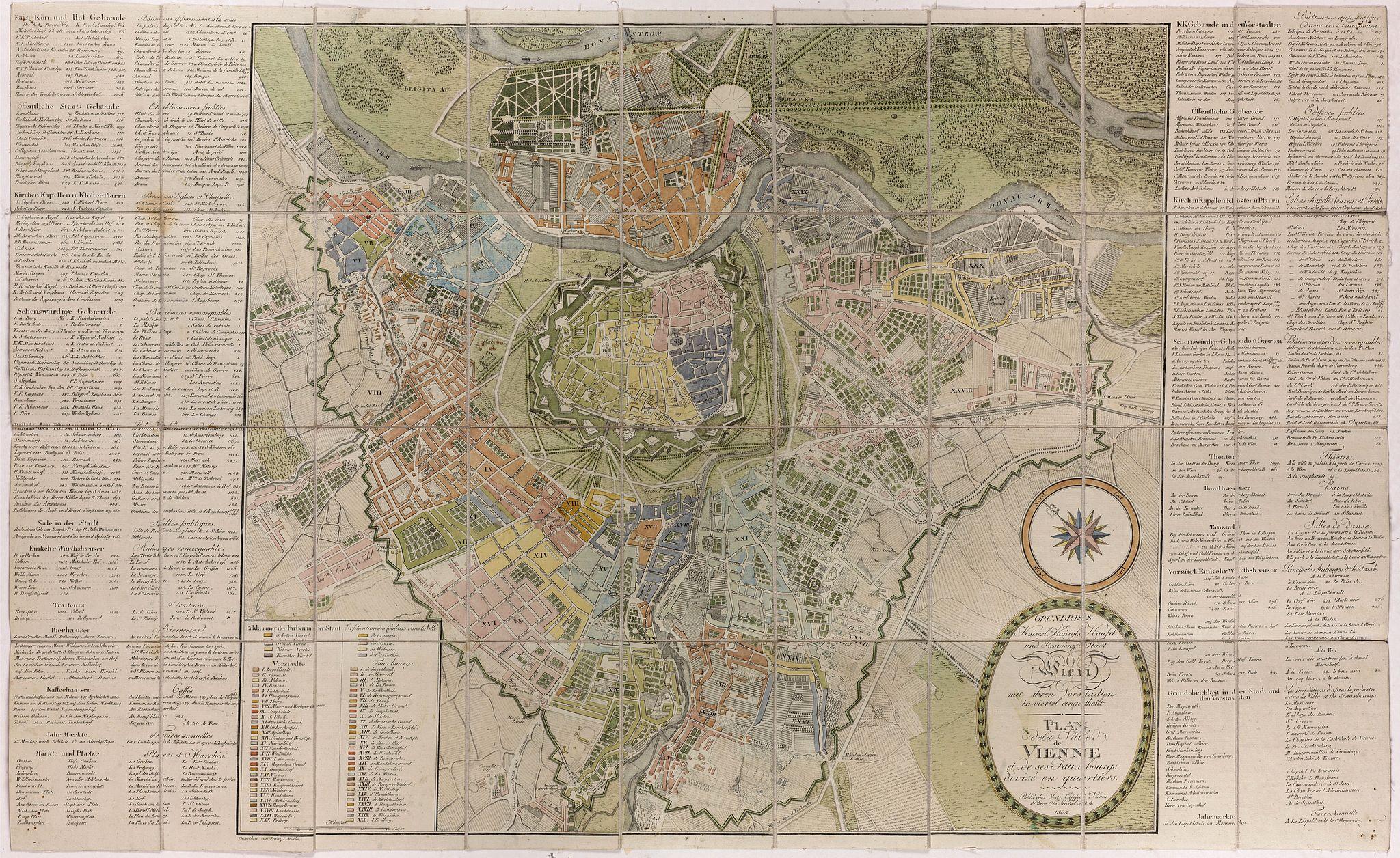 CAPPI, J. -  Plan de la ville de Vienne et de ses faubourgs divisés en quartiers.