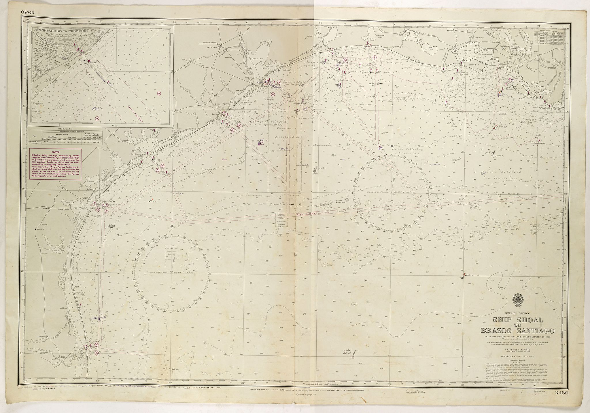 ADMIRALTY SEA CHART.,  Gulf of Mexico. Ship Shoal to Brazos Santiago., antique map, old maps