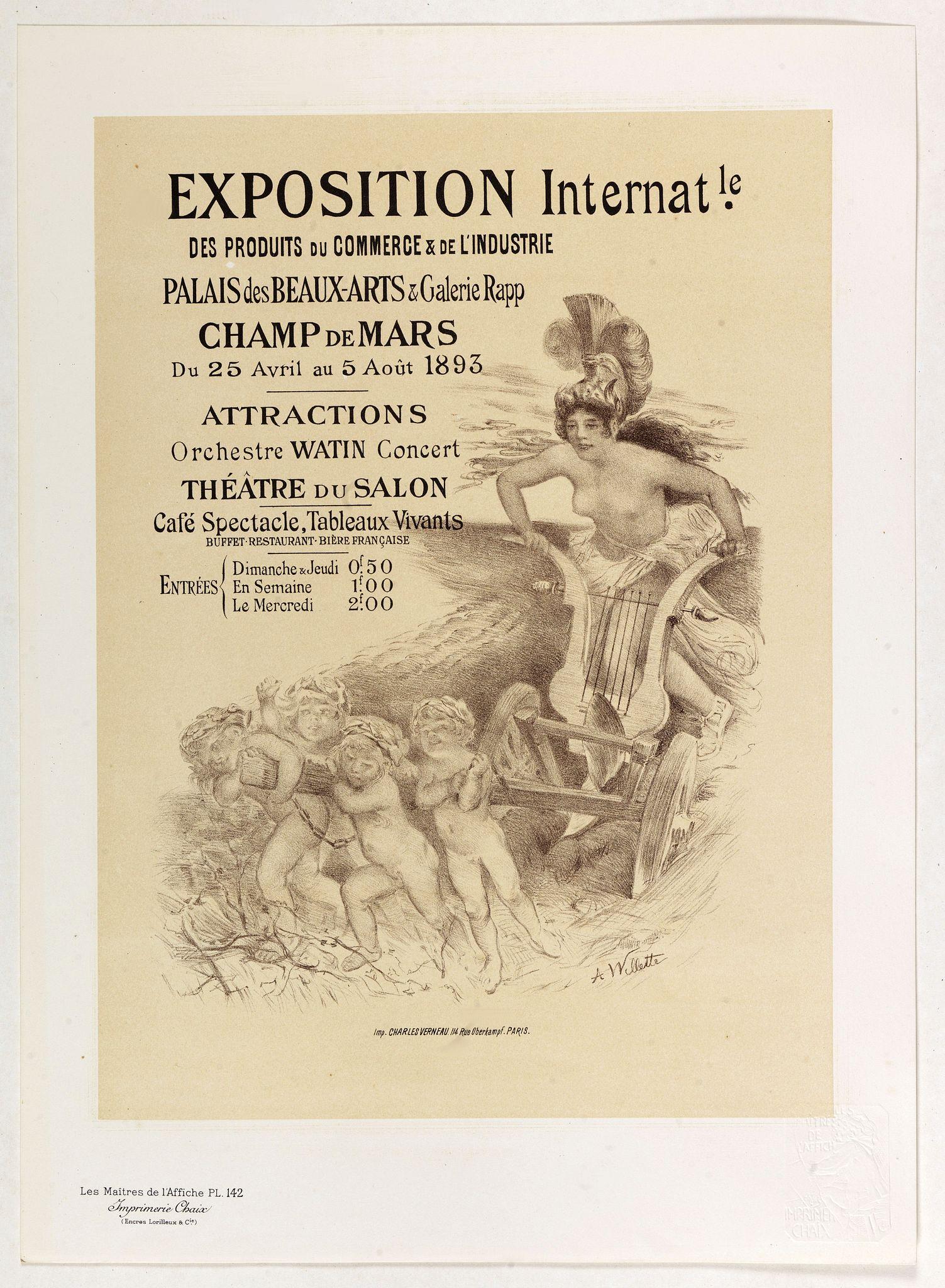 WILETTE, A. -  Exposition Internationale des produits du commerce . . .