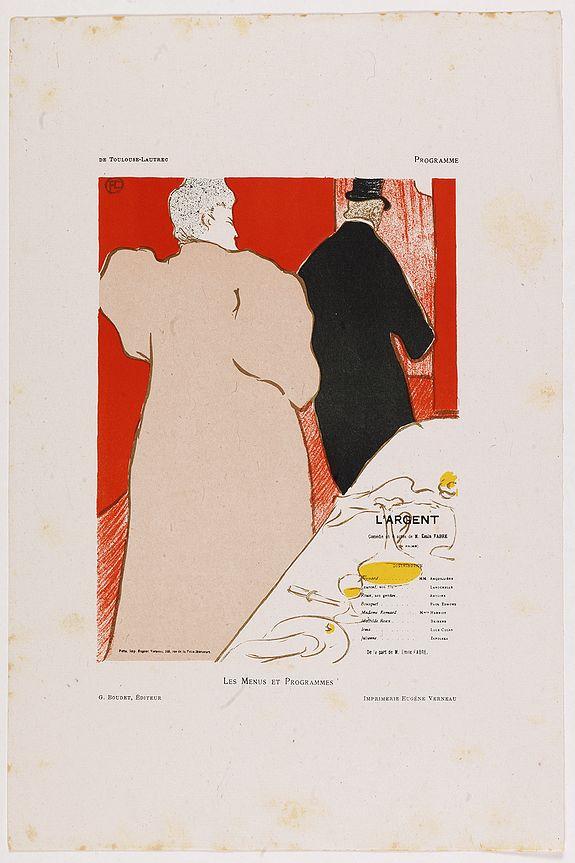 TOULOUSE-LAUTREC -  L'Argent, Comédie en 4 actes de M. Emile Fabre. Programme pour le Théâtre Libre.
