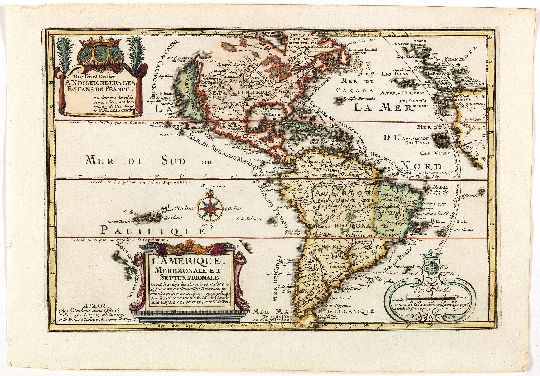 DE FER, N. -  L'Amerique, Meridionale et Septentrionale.