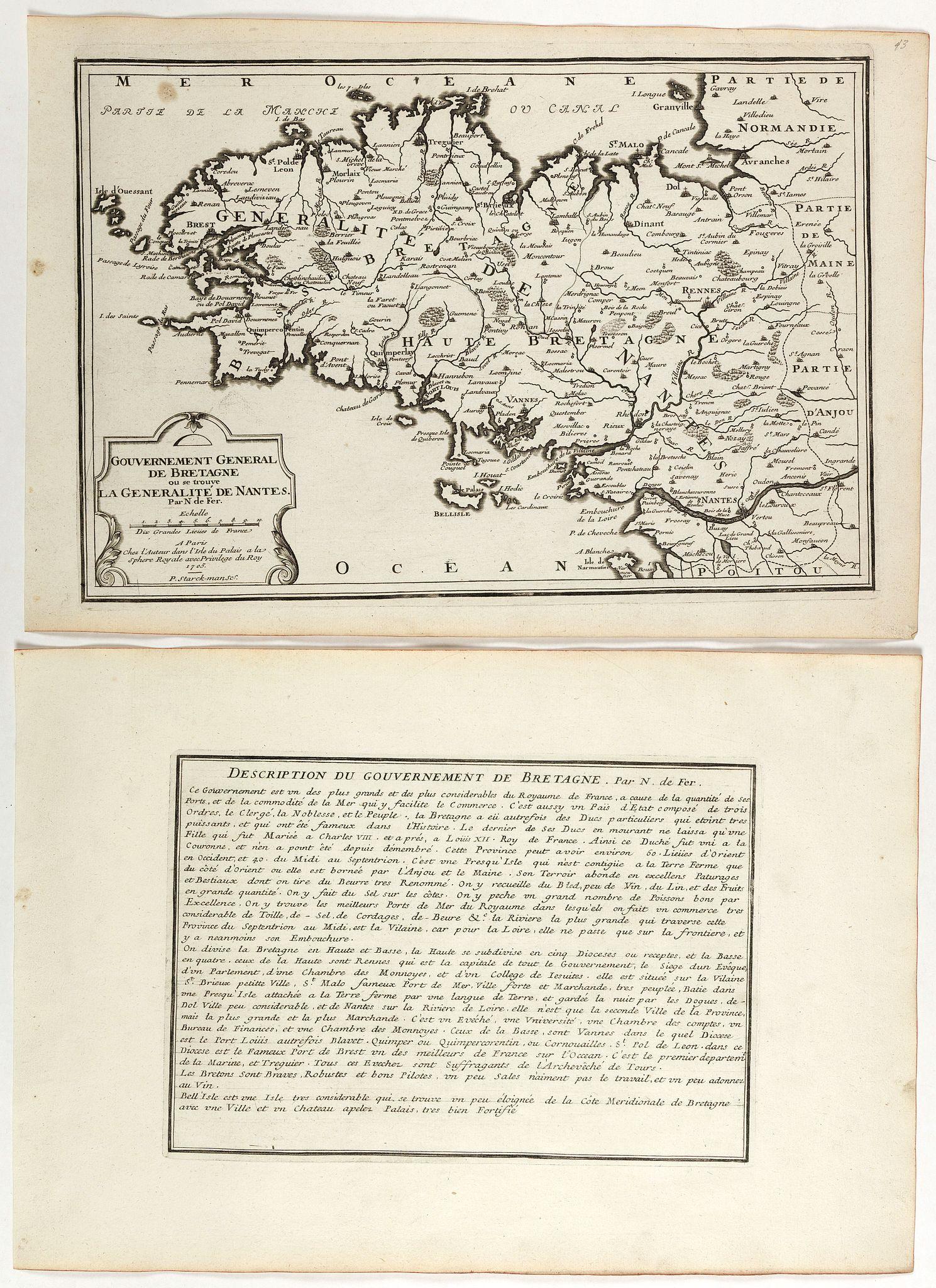 DE FER, N. -  Gouvernement general de Bretagne ou se trouve la Generalité de Nantes.