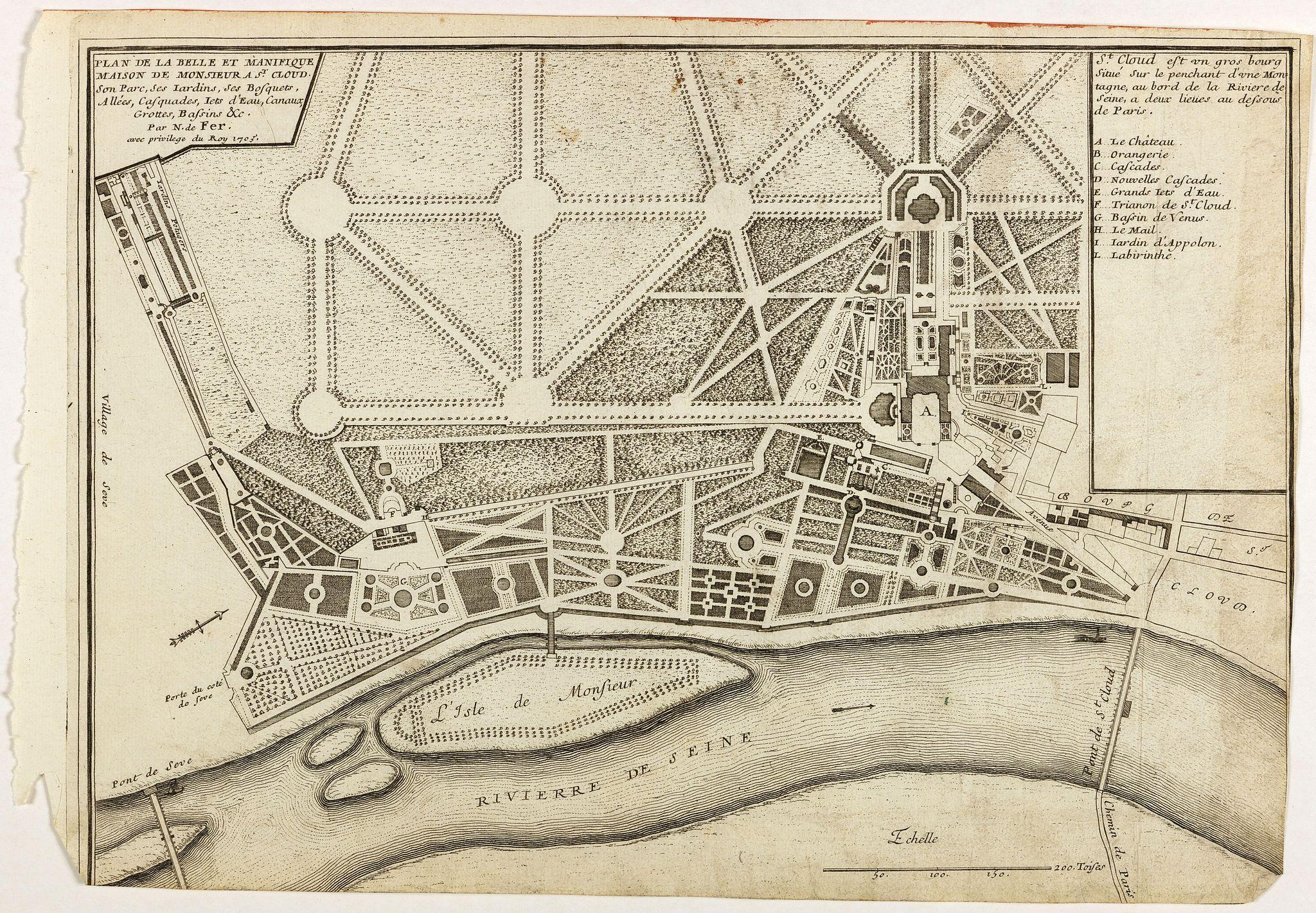 DE FER, N. -  Plan de la belle et magnifique Maison de Monsieur A St Cloud . . .