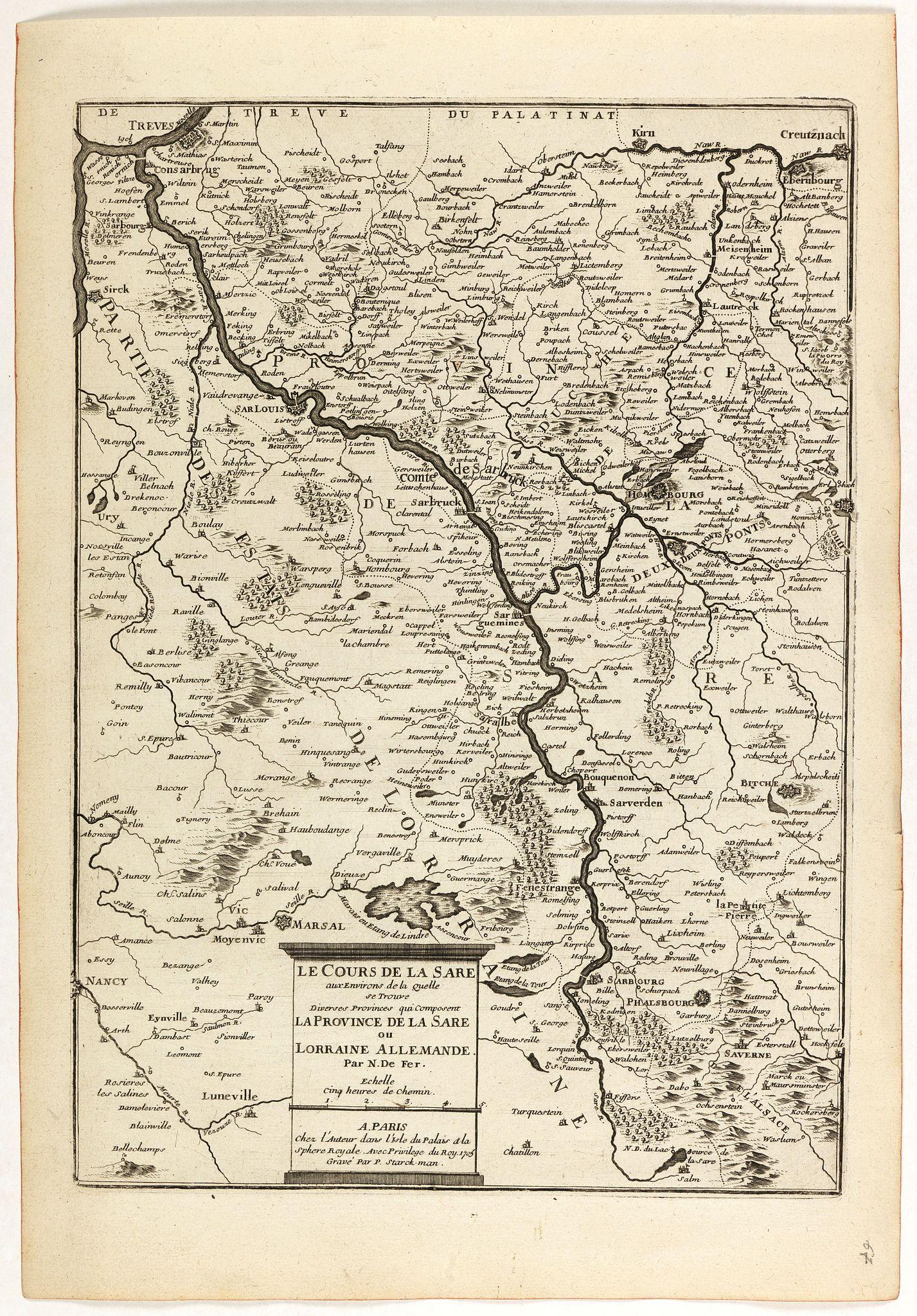 DE FER, N. -  Le cours de la Sare aux environs de la quellese trouve diverses provinces qui composent la province de la Sare ou Lorraine Allemande.
