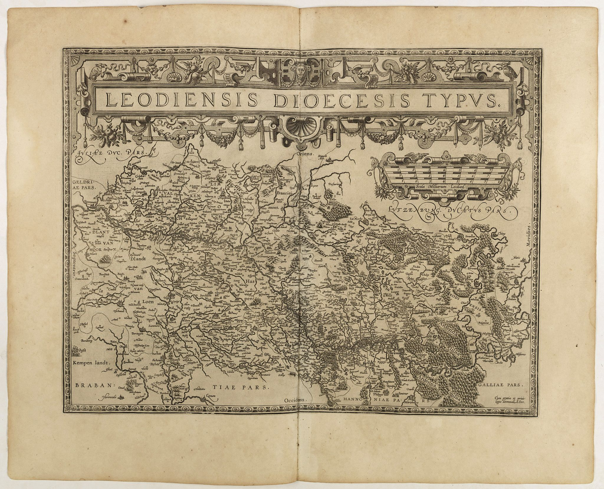 ORTELIUS, A.,  Leodiensis Diocesis Typus., antique map, old maps