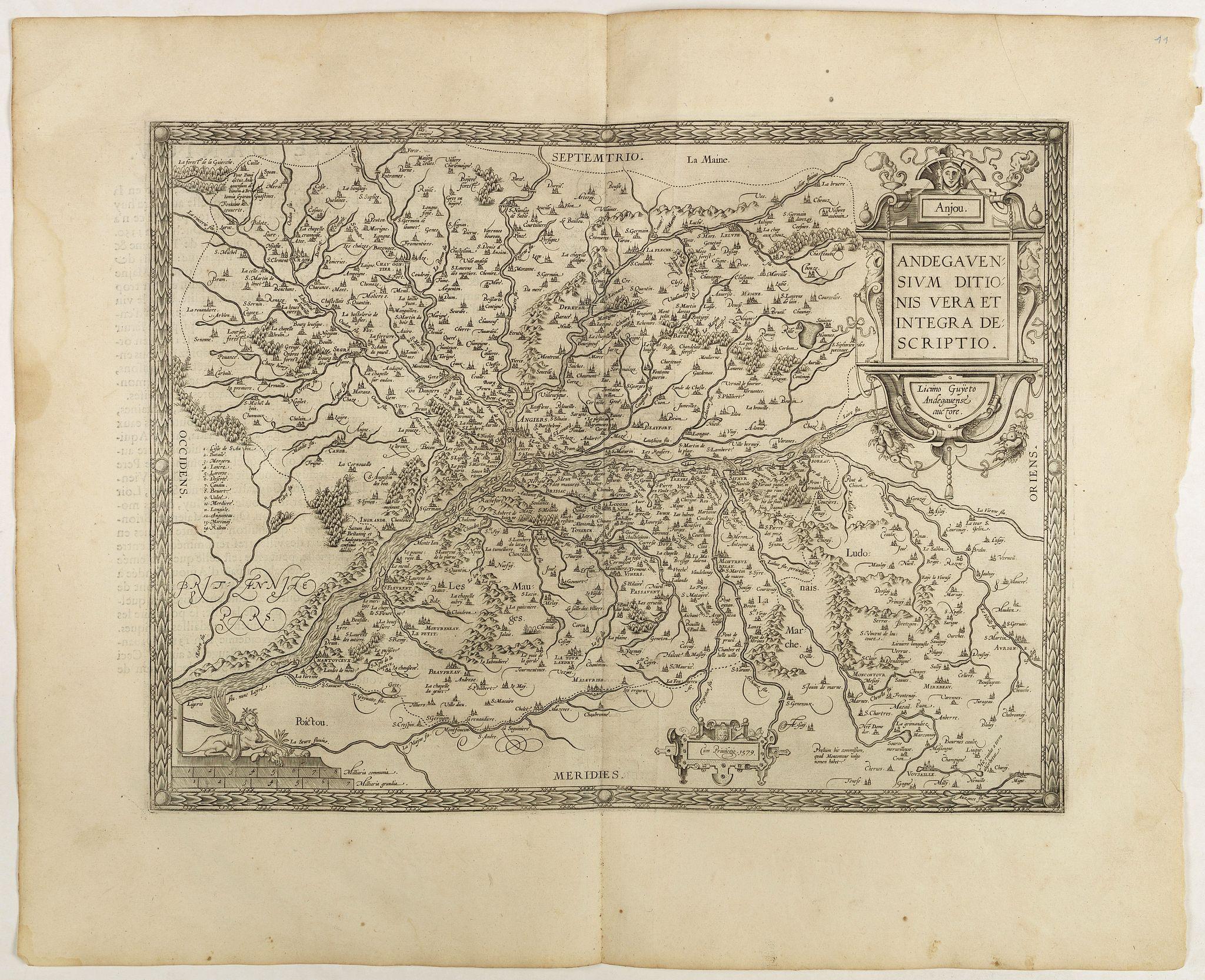 ORTELIUS, A. -  Anjou. Andegavensium Ditionis Vera et  Integra Descriptio. Licimo Guijeto Andegavense auctore.
