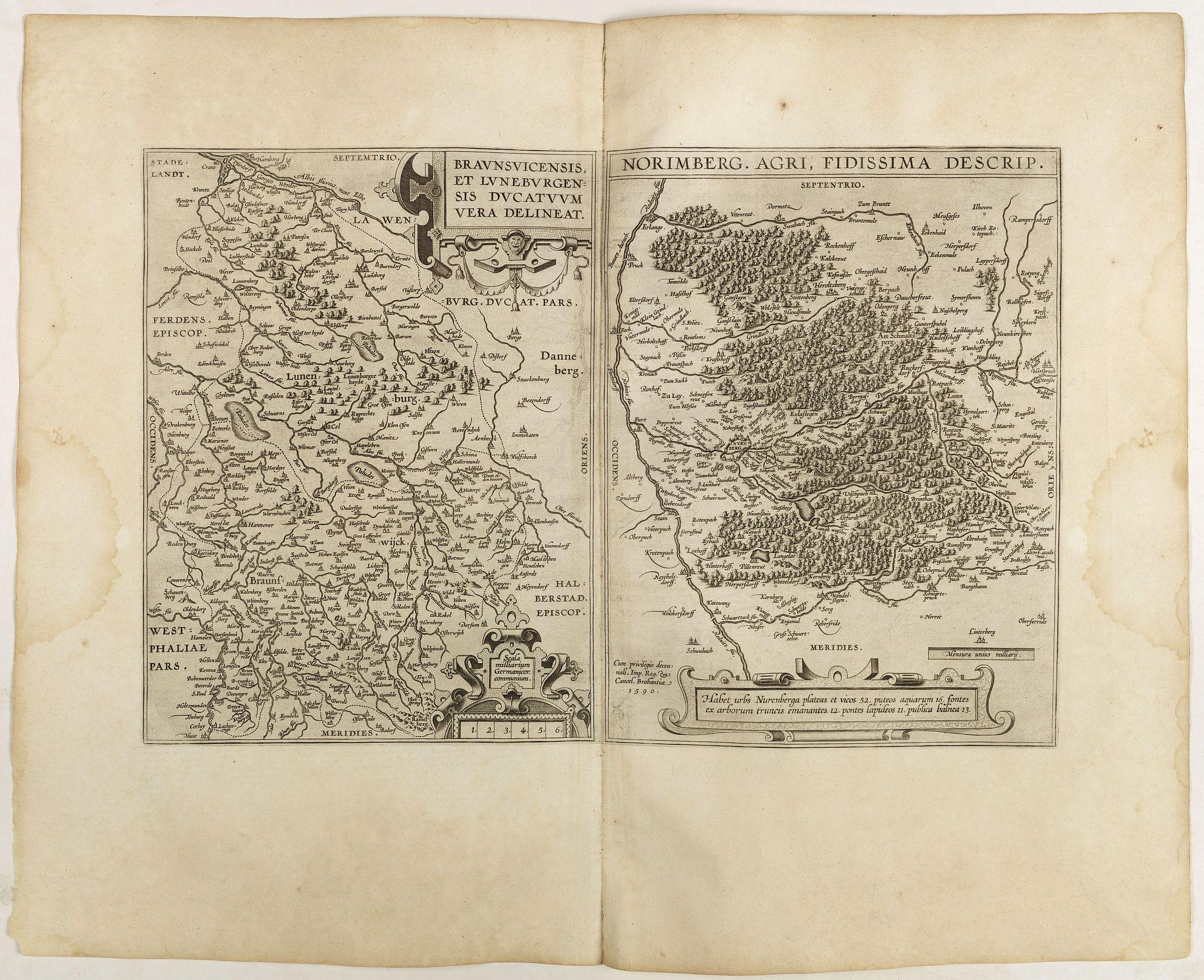 ORTELIUS, A. -  Braunsvicensis et Luneburgensis . . . (together with) Norimberg Agri,..