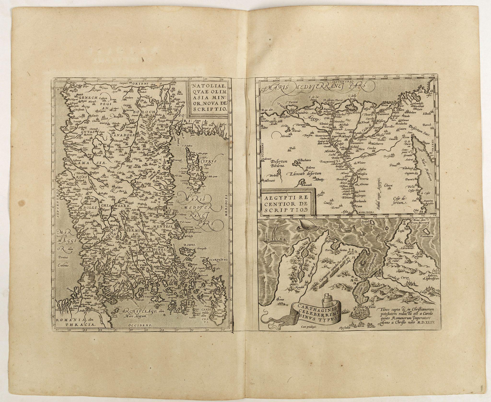ORTELIUS, A. -  Natoliae Quae Olim Asia Minor, Nova de Scriptio / Carthaginis Celeberrimi Sinus Typus / Aegypti re Centior de Scriptio