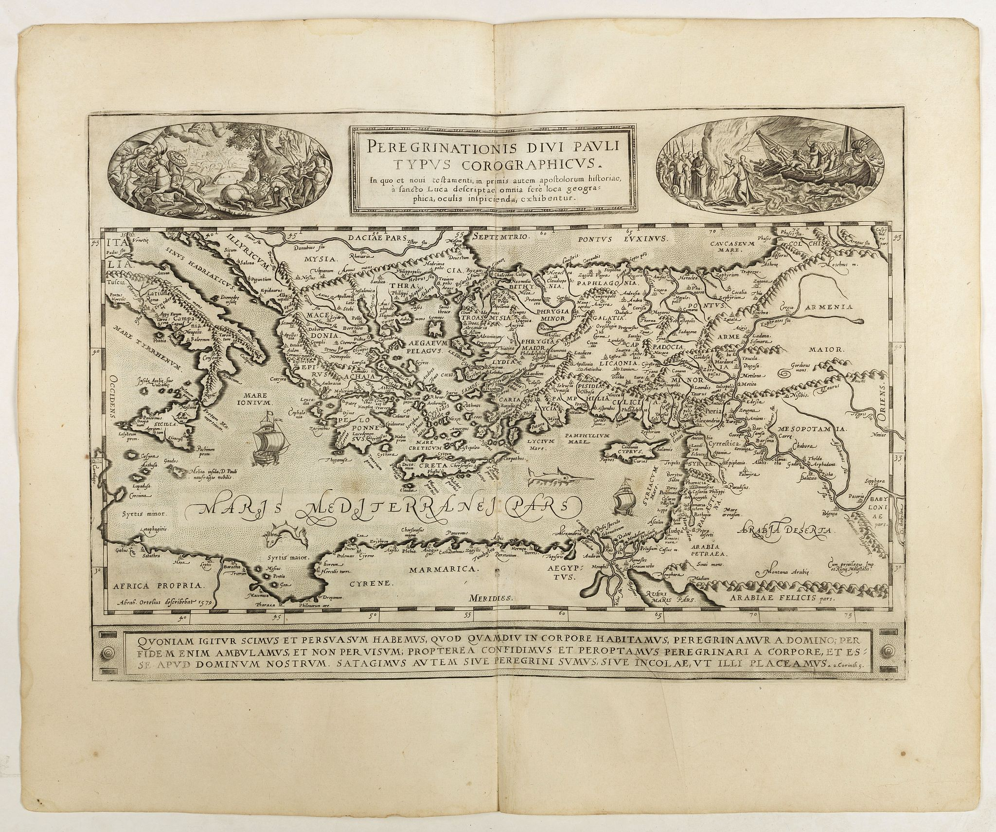 ORTELIUS, A.,  Peregrinationis Divi Pauli Typus.., antique map, old maps