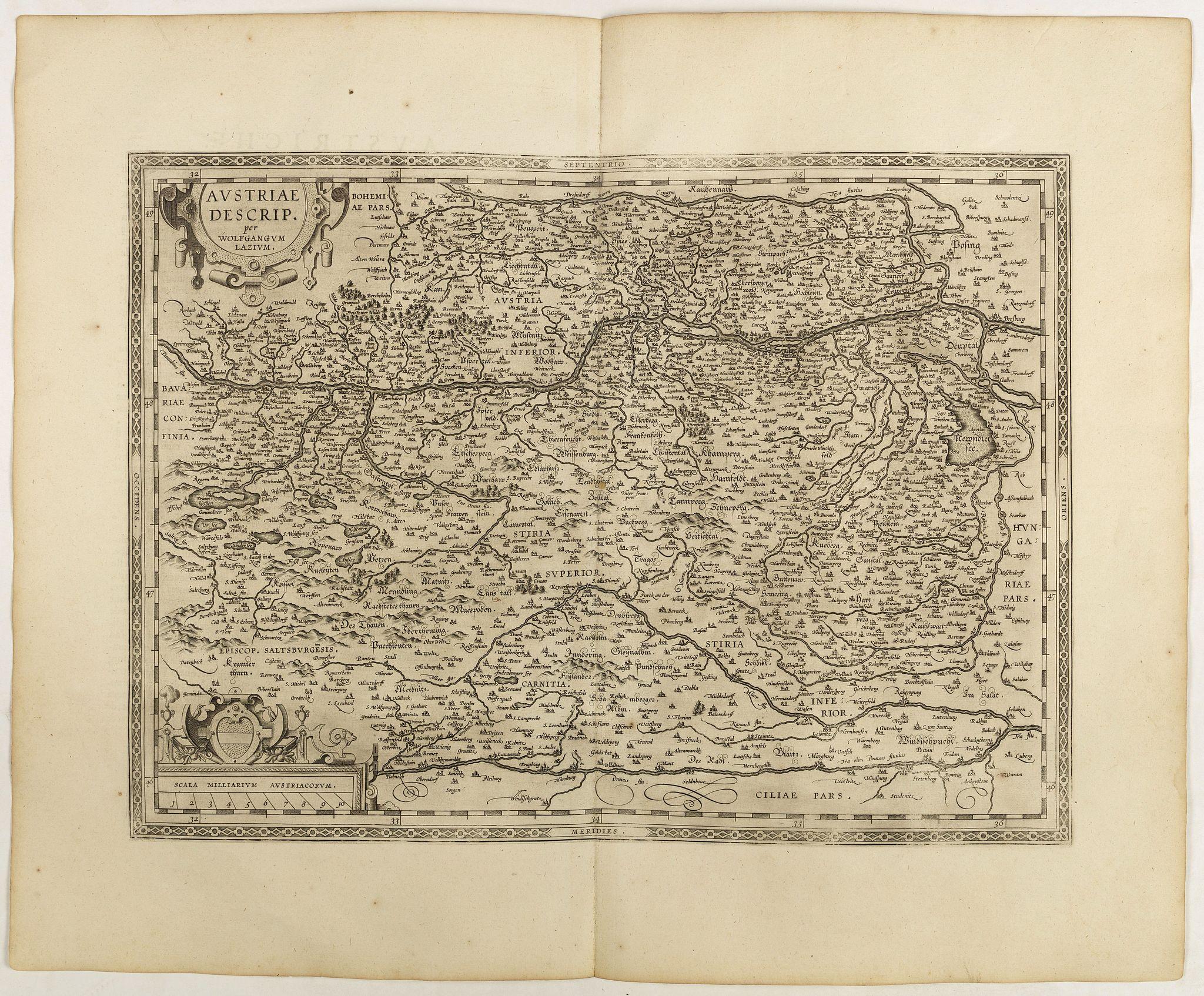 ORTELIUS, A. -  Austriae Descrip. Par Wolfganum Lazium.
