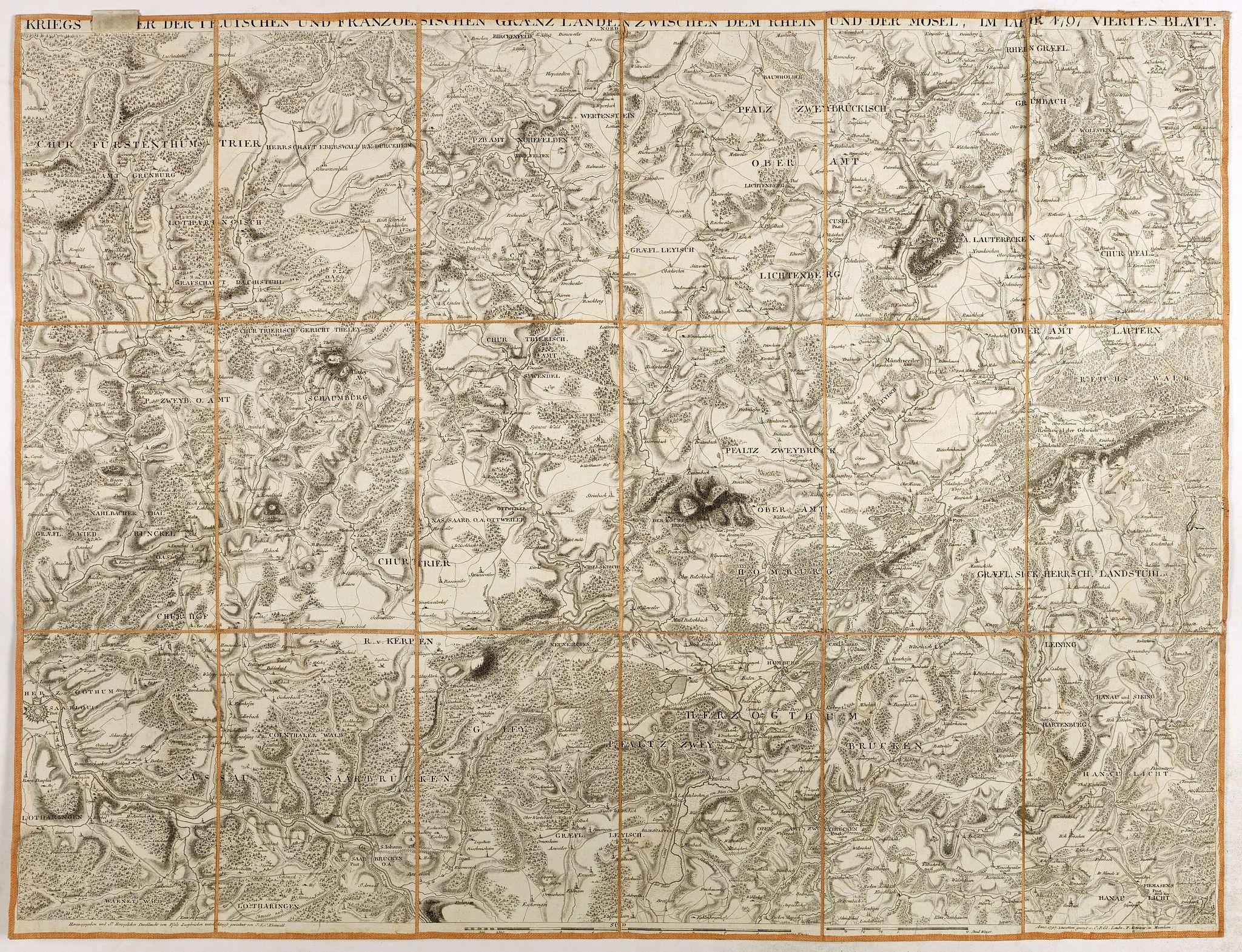 DEWARAT, O. -  Kriegs Theater der teutschen und franzoesischen Graenzlanden swischen dem Rhein und der Mosel, im Jahr 1797 : viertes Blatt.