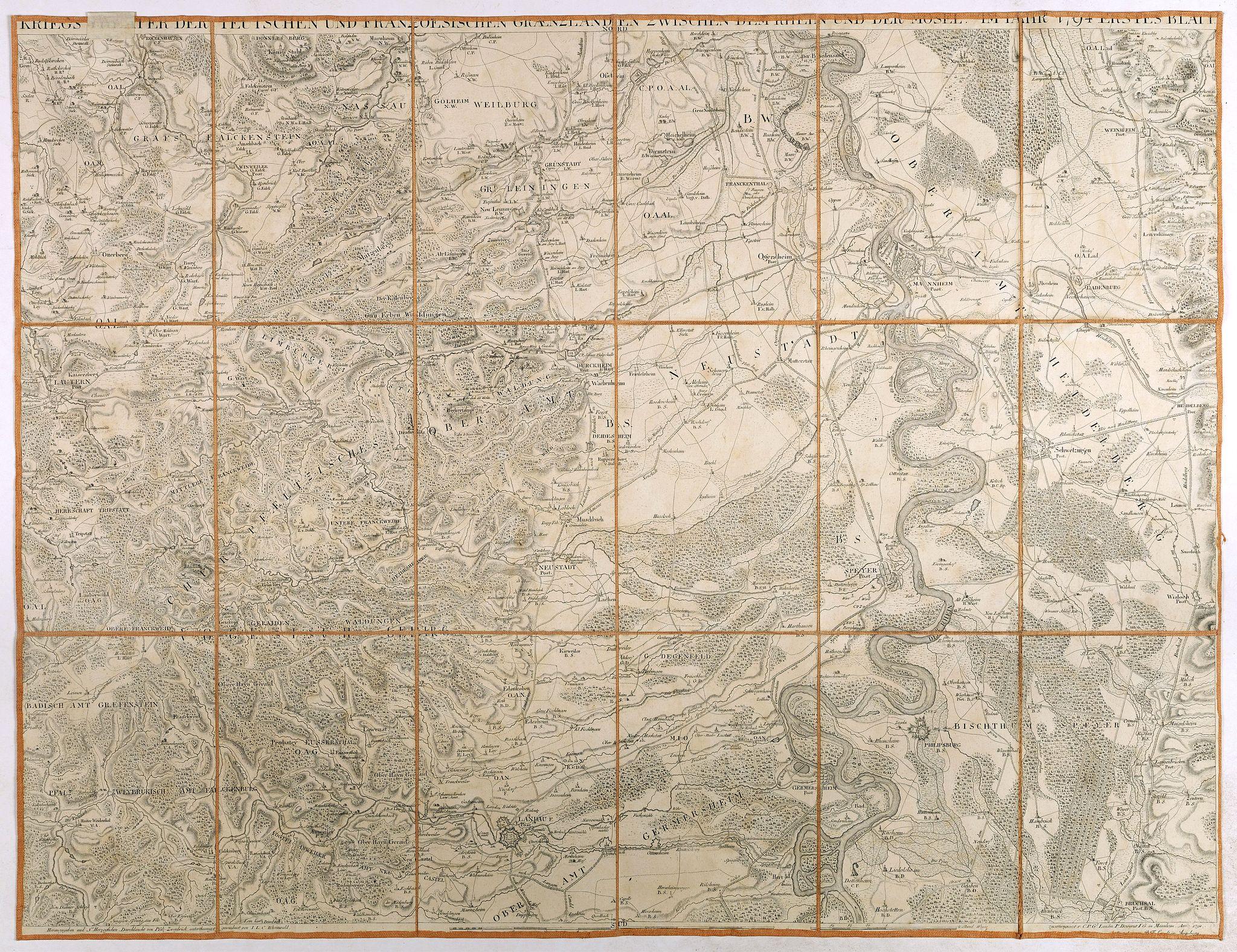 DEWARAT, O. -  Kriegs Theater der teutschen und franzoesischen Graenzlanden swischen dem Rhein und der Mosel, im Jahr 1796 : erstes Blatt.