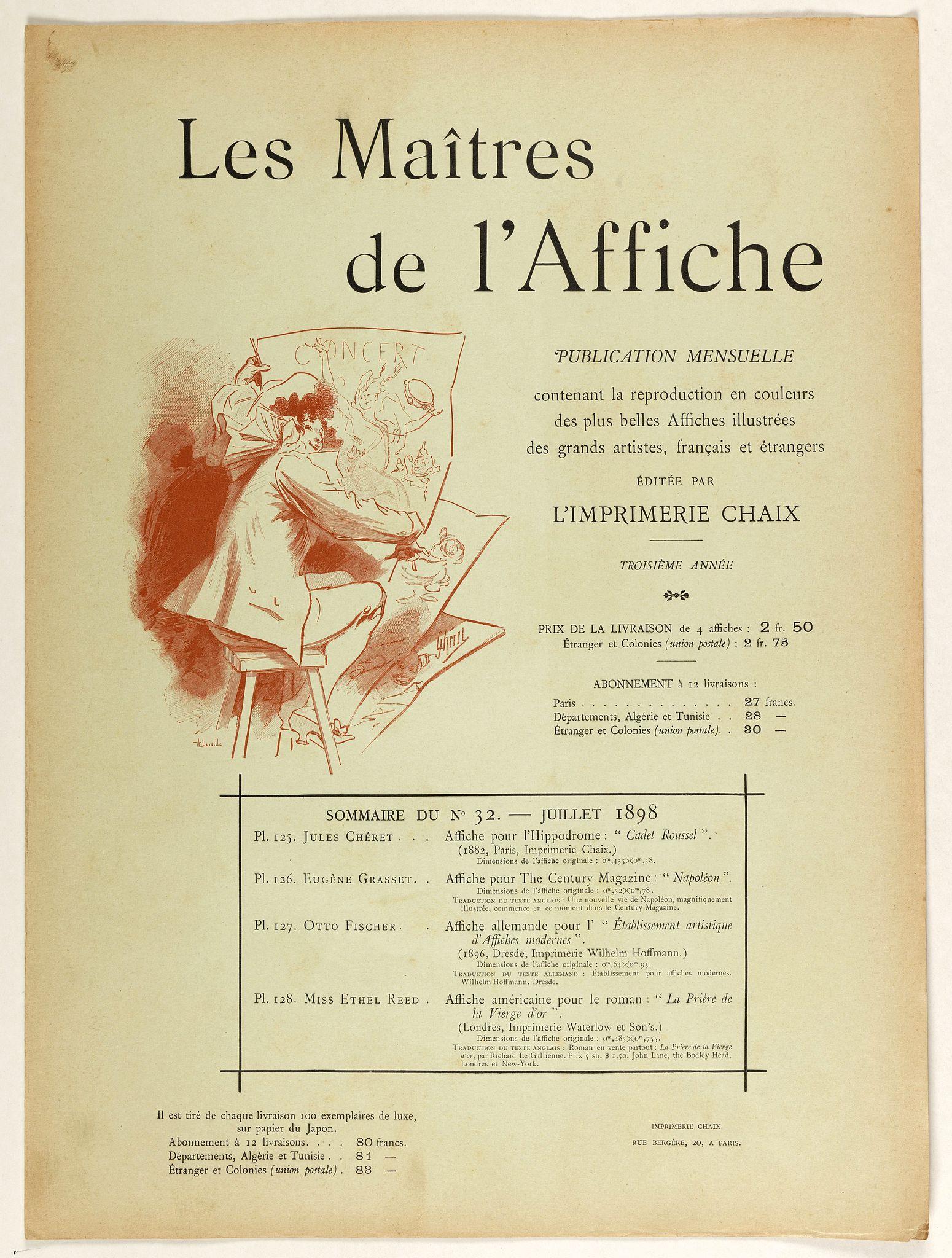 LES MAITRES DE L'AFFICHE -  Sommaire du n°32 - Juillet 1898.