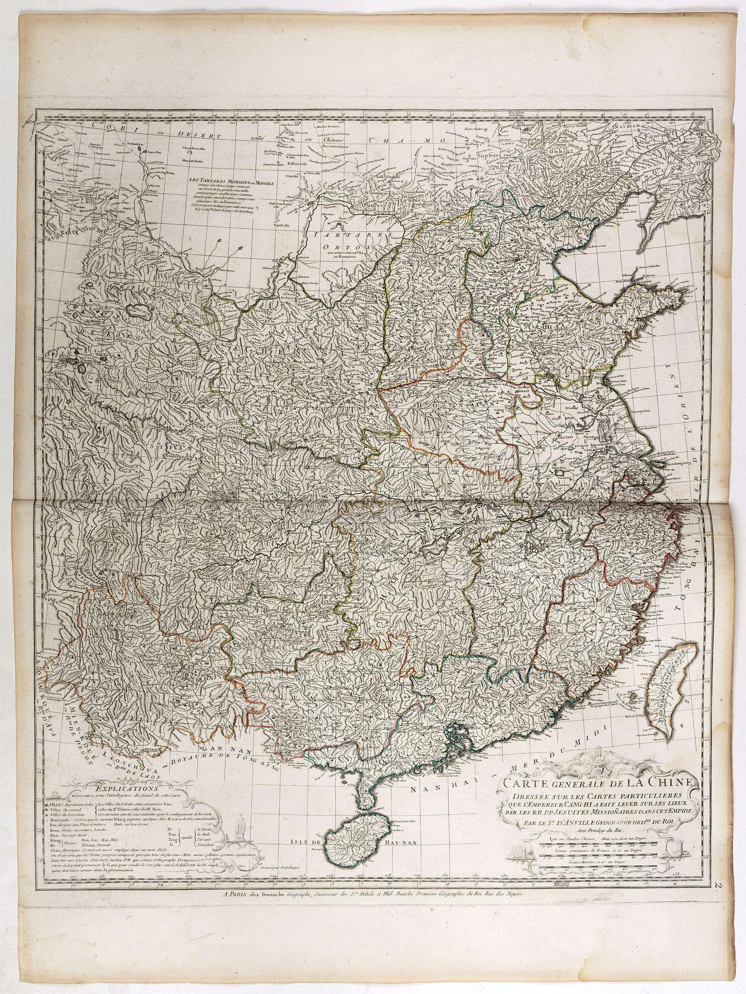 D'ANVILLE, J-B. -  Carte Generale de la Chine Dressée sur les Cartes Particulieres Que l' Empereur Chang-Hi a fait lever sur les lieux. . . .