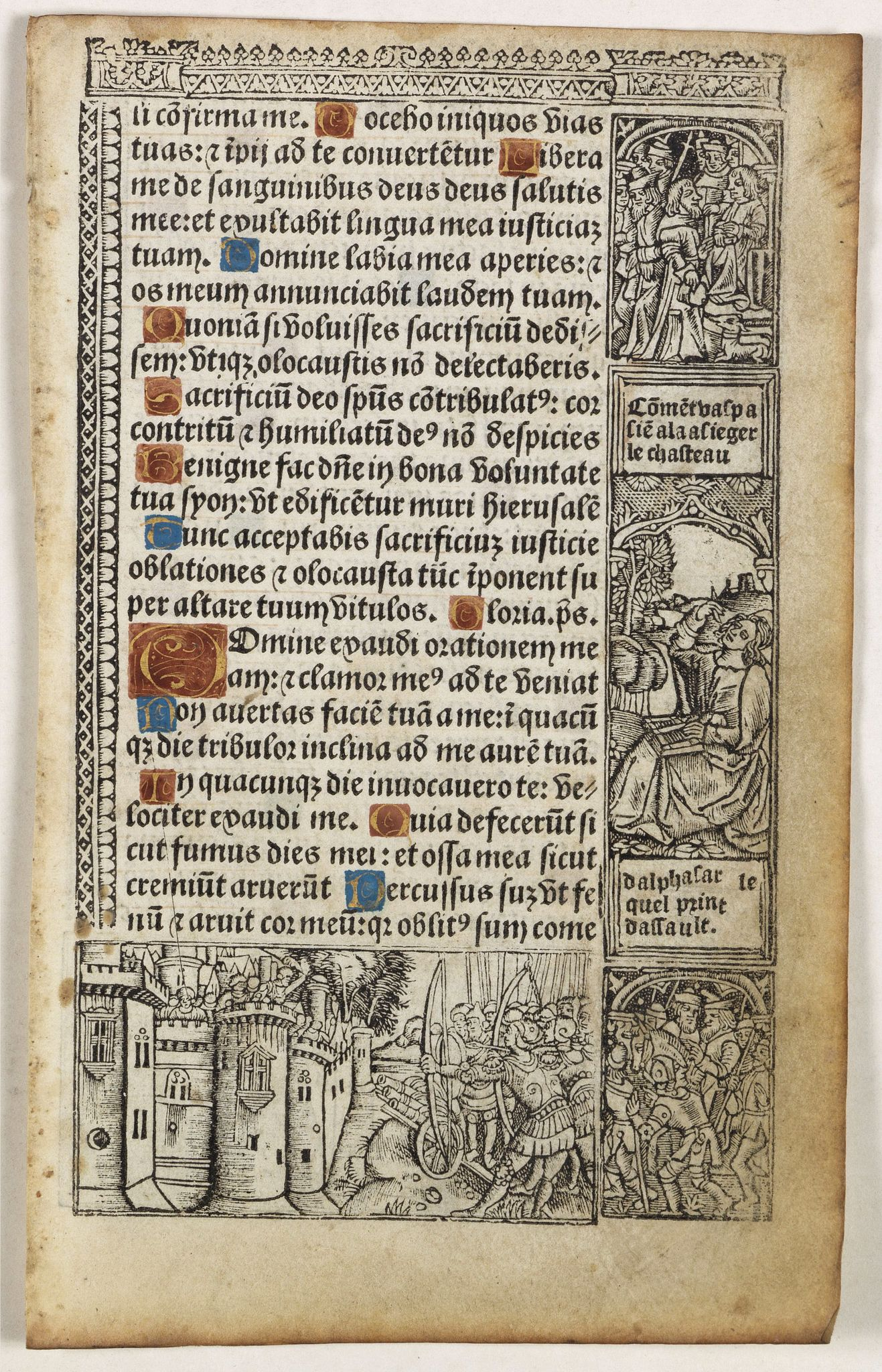 PRINTED BOOK OF HOURS (Use of Rome). -  Leaf on vellum from a printed Book of Hours In Latin and French.