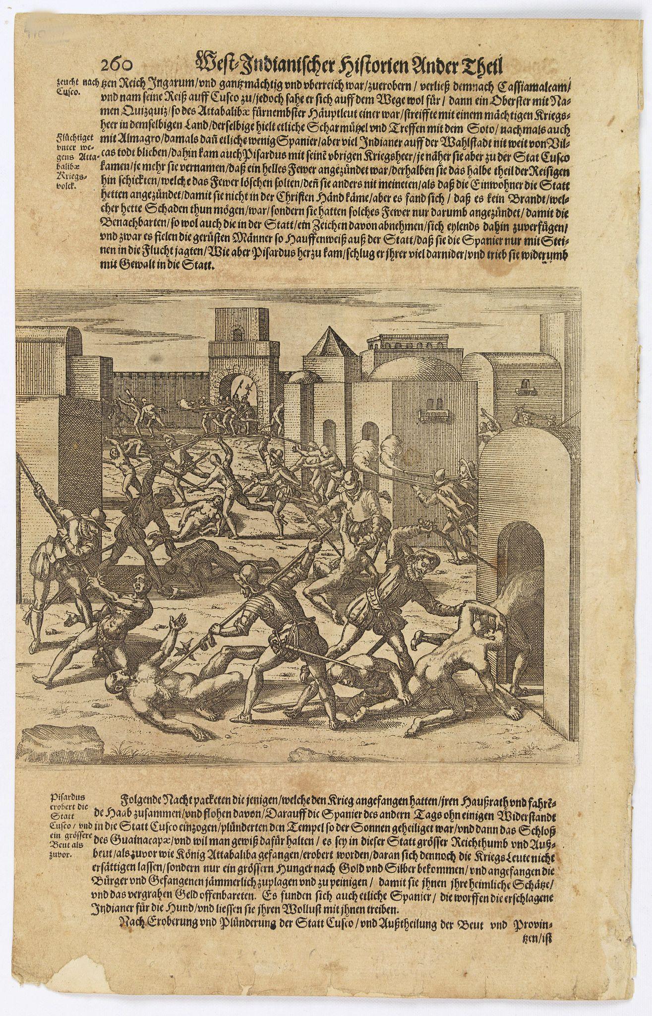 GOTTFRIED, J.L. / DE BRY. -  [Spanish take over Cusco] / [Atahualpa is garrotted].