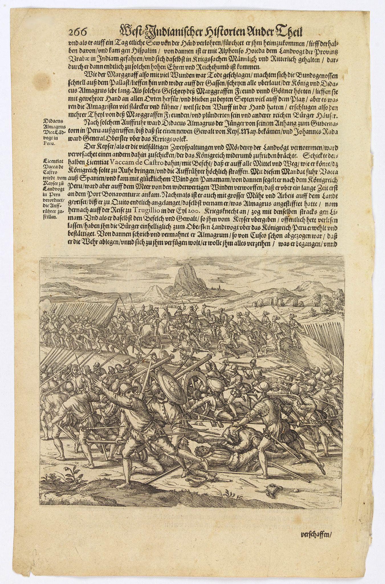 GOTTFRIED, J.L. / DE BRY. -  [The bloody battle at Chupas] / [Francesco Pizzaro is killed].