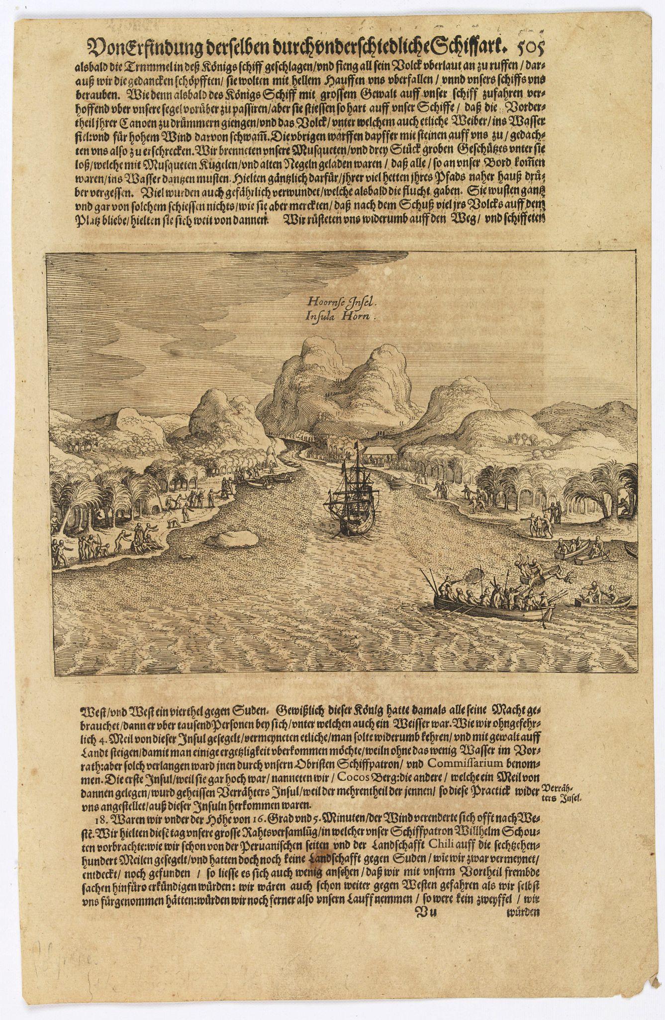 GOTTFRIED, J.L. / DE BRY. -  [The description of Horn's Island].