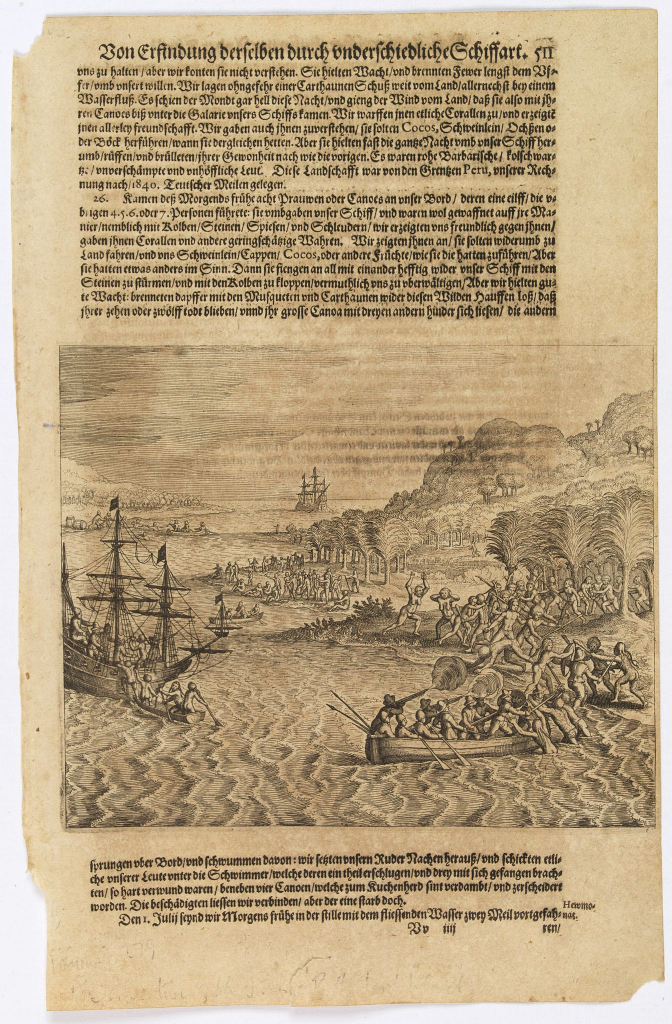 GOTTFRIED, J.L. / DE BRY. -  [The adventures of the Dutch at 'Bottomless' island in Samoa].