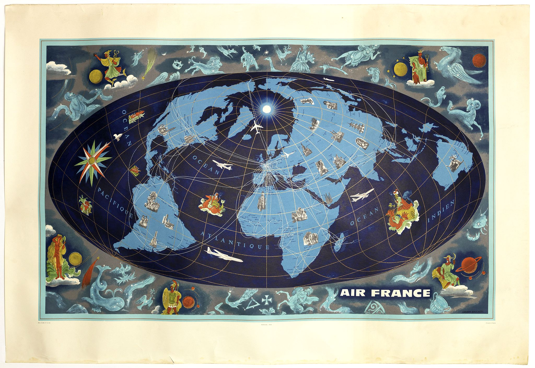BOUCHER, L. / AIR FRANCE -  World map with zodiac figures.