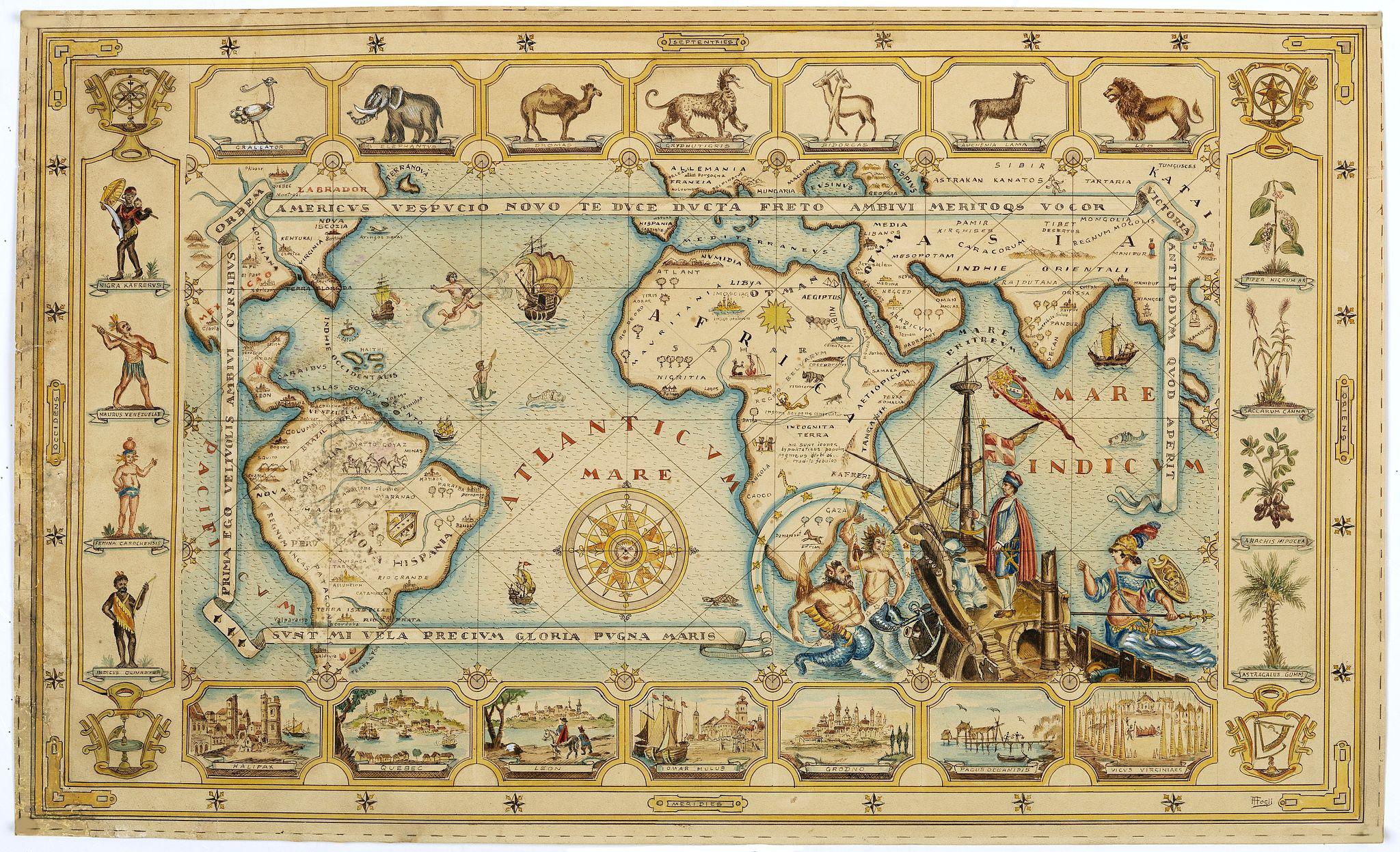 FOGLY, A. -  (World map). Americus Vespucio novo te Duce Ducta Freto Ambivi Meritoqs Vocor.