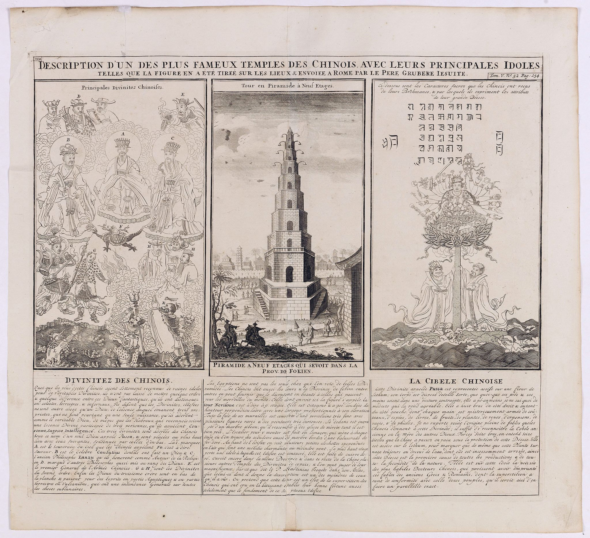 CHATELAIN, H.,  Description d'un des plus fameux temples des Chinois.., antique map, old maps