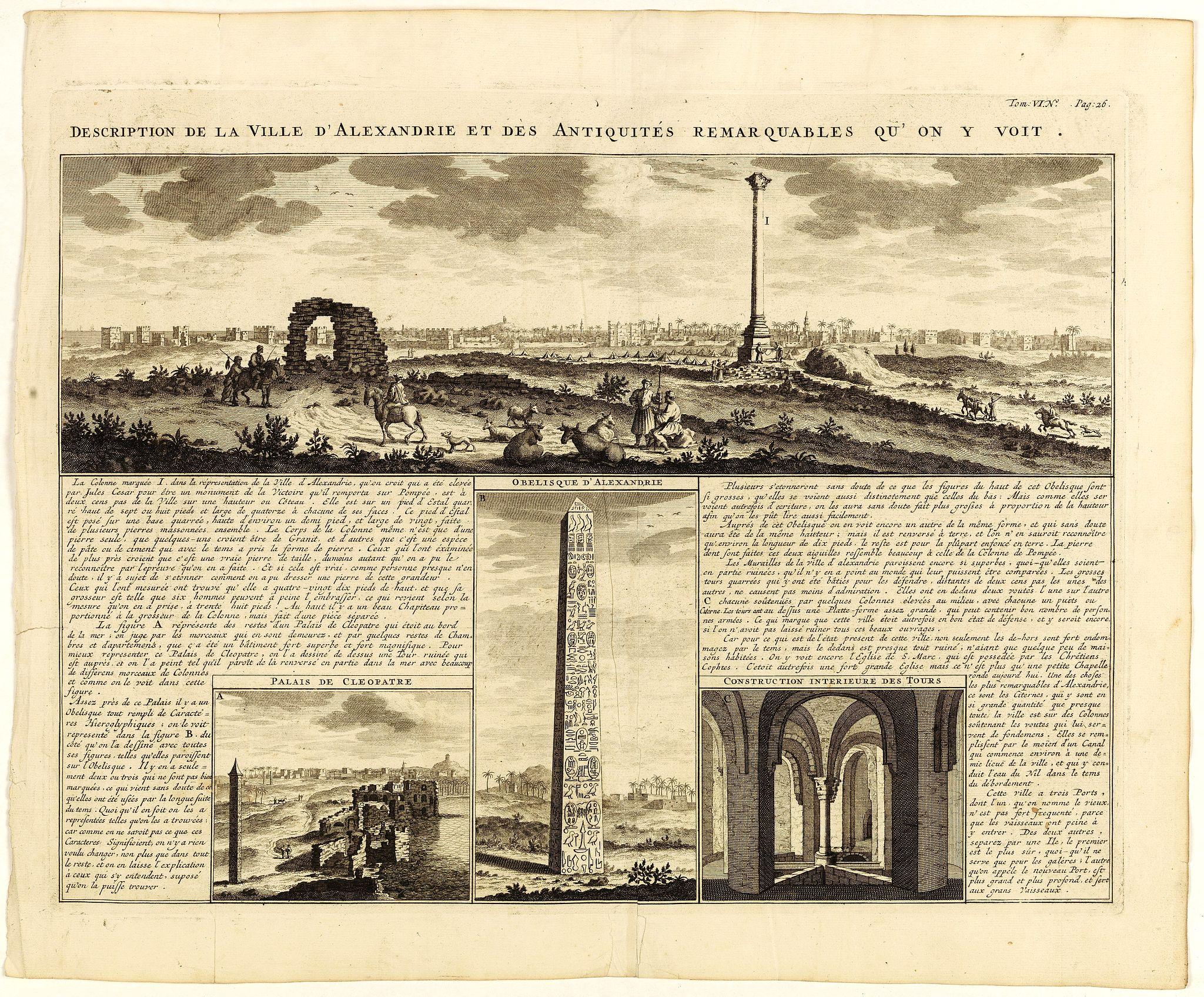 CHATELAIN, H. -  Description de la Ville d'Alexandrie et des Antiquites Remarquables qu'on y voit.