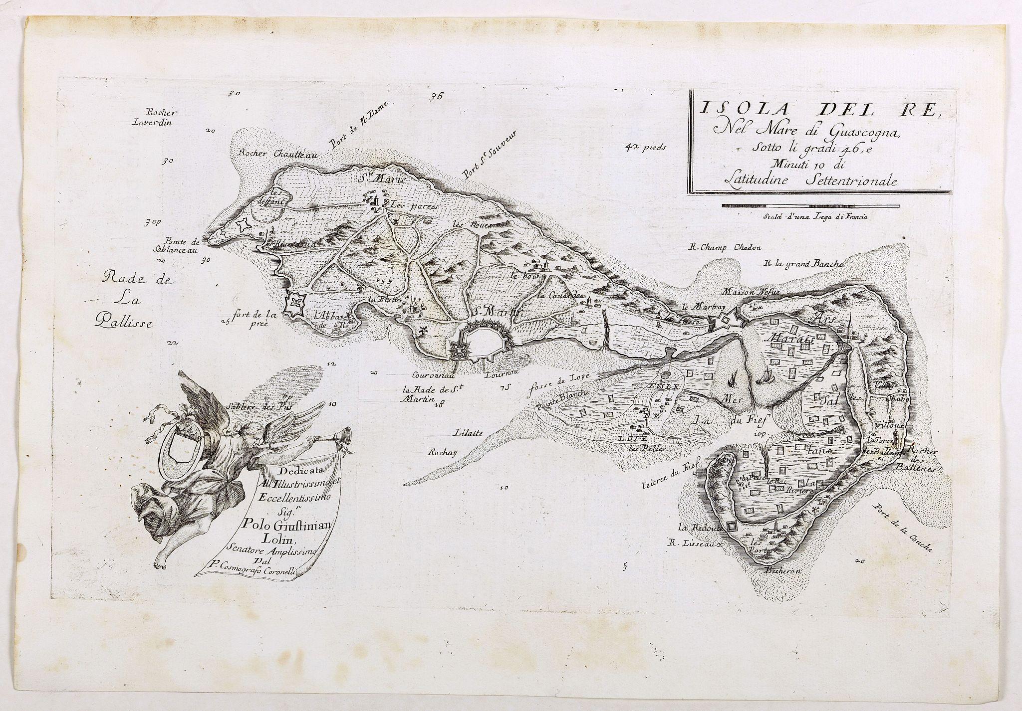 CORONELLI, V. M. -  Isola del Re Nel Mare di Guascogna . . .