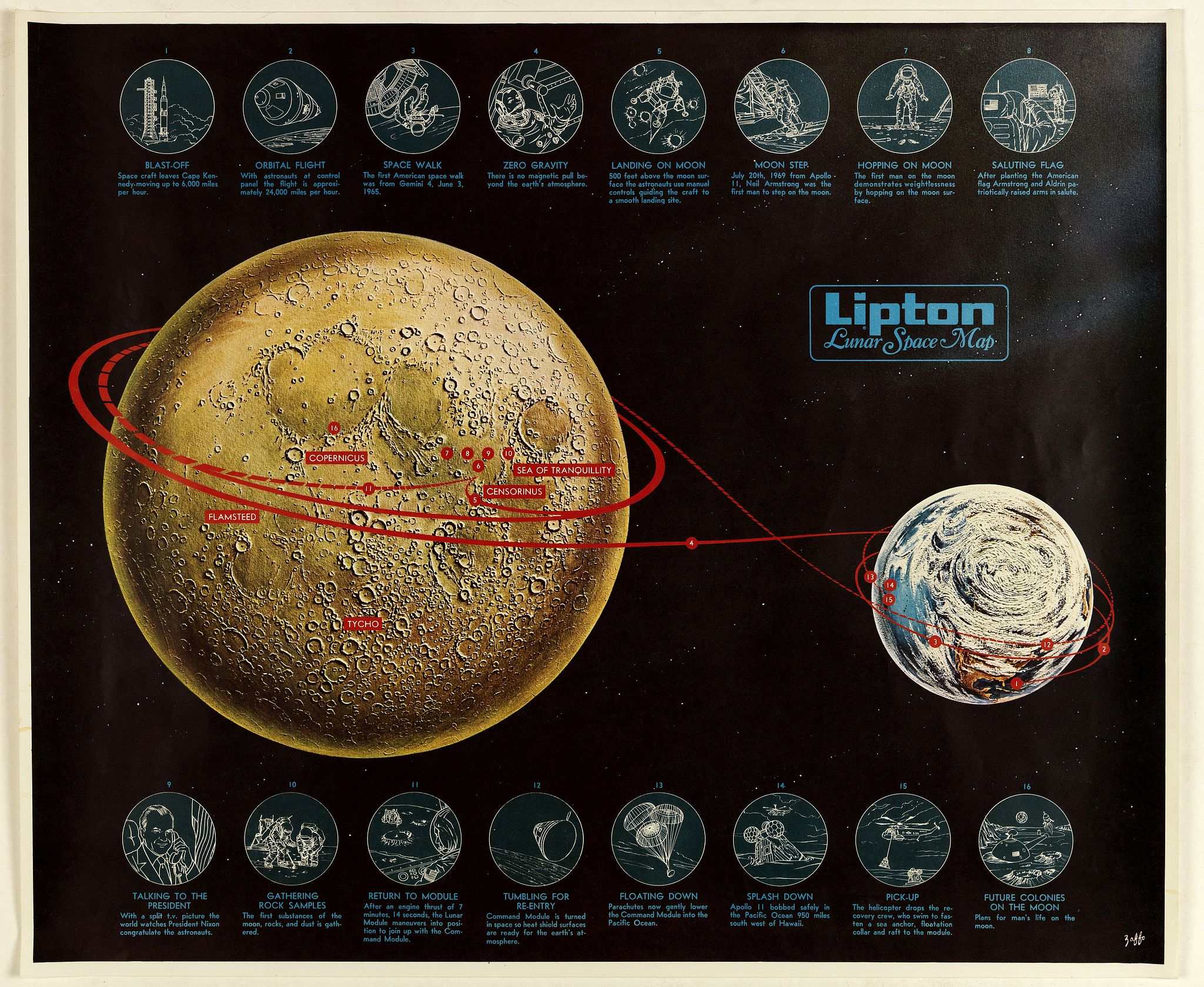 ZAFFO, G.J.,  LIPTON Lunar Space Map, antique map, old maps