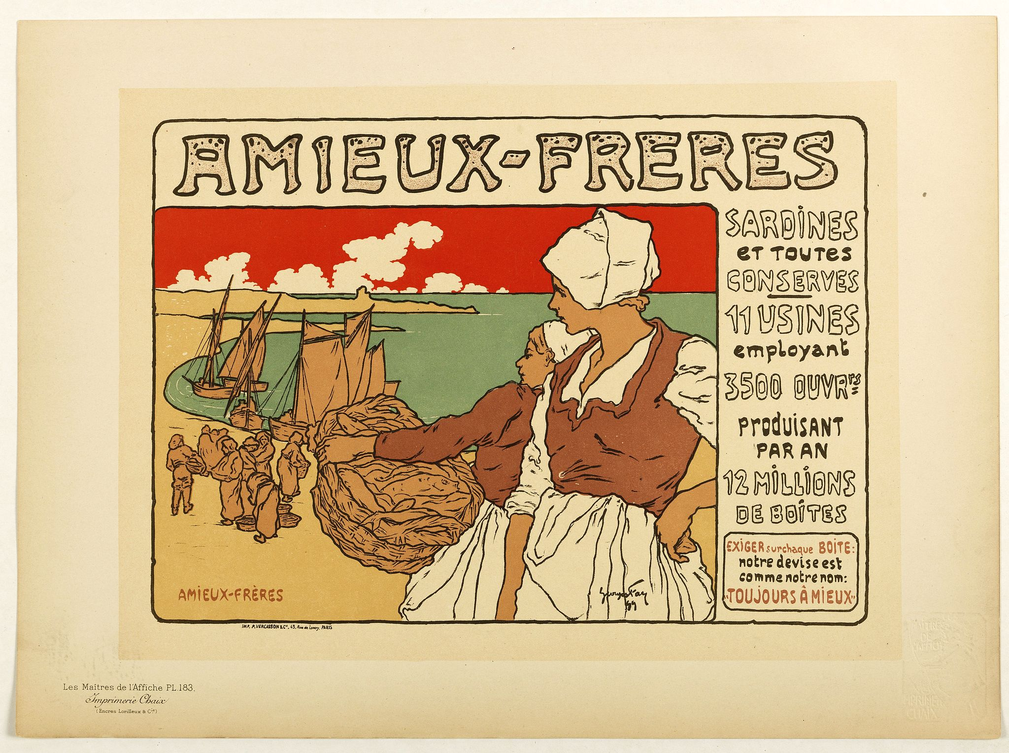 LES MAITRES DE L'AFFICHE -  Amieux Freres, sardines et toute conserves.