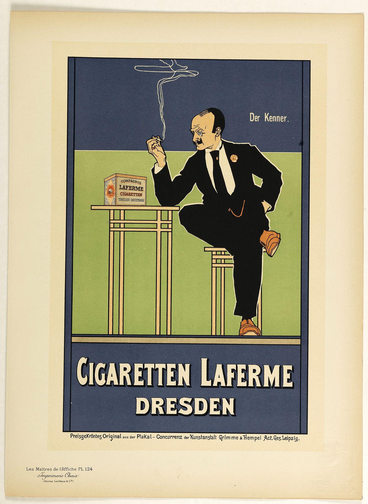 LES MAITRES DE L'AFFICHE -  Cigaretten Laferme Dresden.