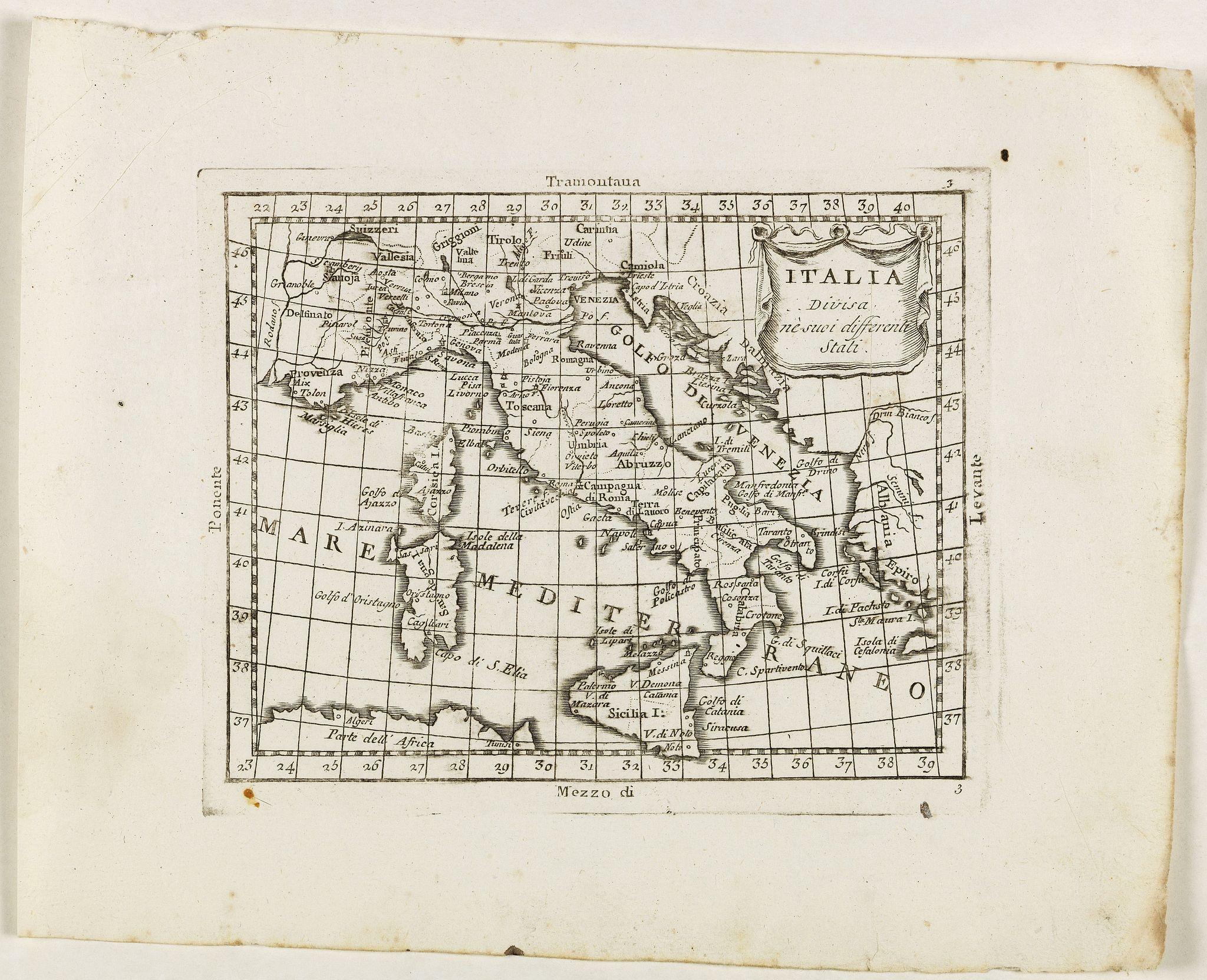 ZEMPEL, G. -  Italia divisa né suoi differenti stati.